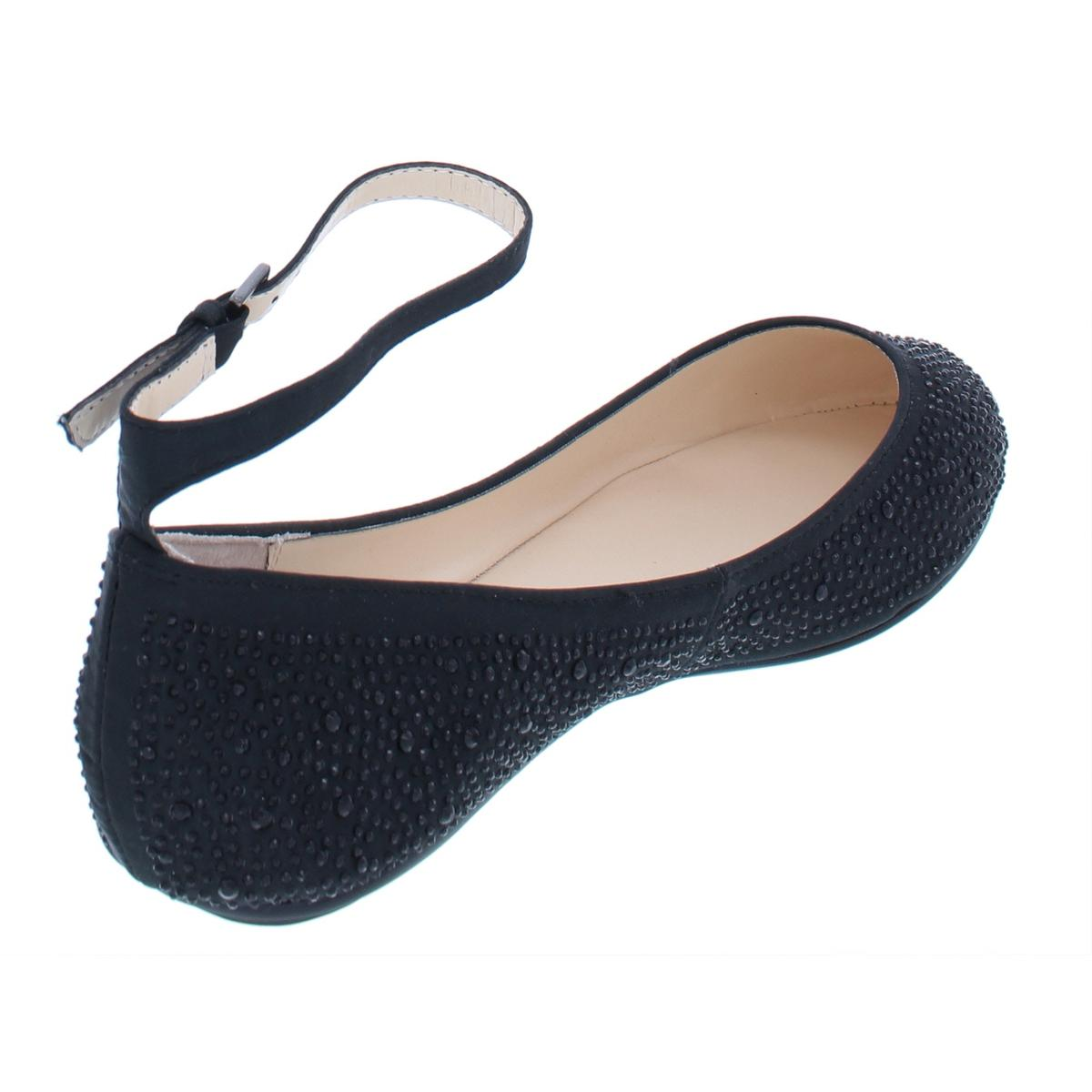 Betsey-Johnson-Womens-Joy-Embellished-Ankle-Strap-Ballet-Flats-Shoes-BHFO-3911 thumbnail 6