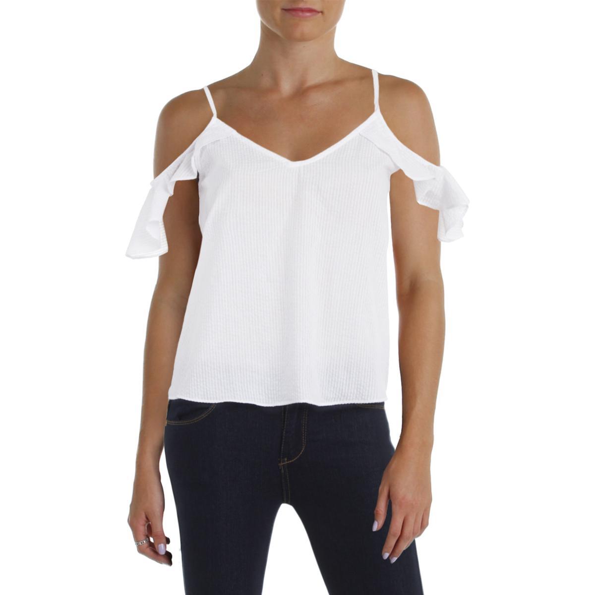 e335b41245347 Details about Aqua Womens White Textured Sheer Cold Shoulder Crop Top Shirt  M BHFO 2678