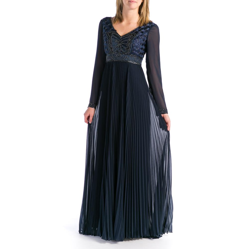 SUE WONG NEW Chiffon Beaded Full-Length Evening Dress Gown