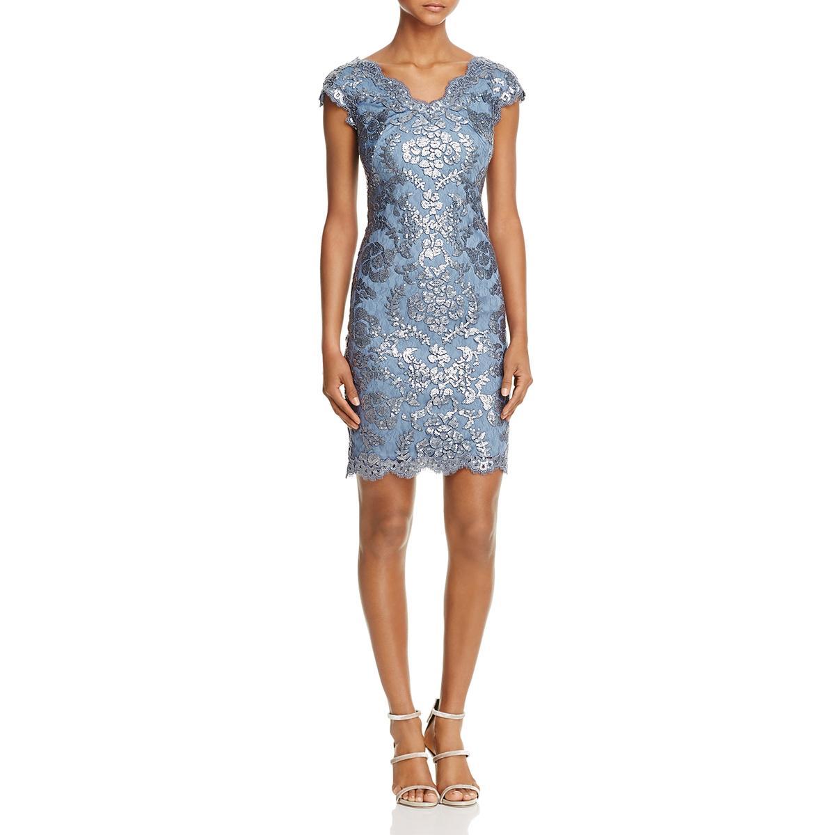 555b73832c77 Details about Tadashi Shoji Womens Blue Lace Overlay Cocktail Dress Petites  10P BHFO 2982