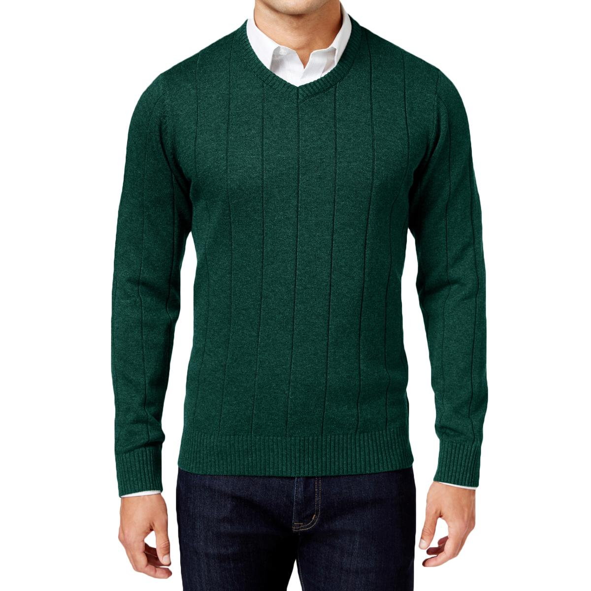 fcb69a31a32f Details about John Ashford Men s Striped-Texture Ribbed Trim V-Neck  Pullover Sweater BHFO