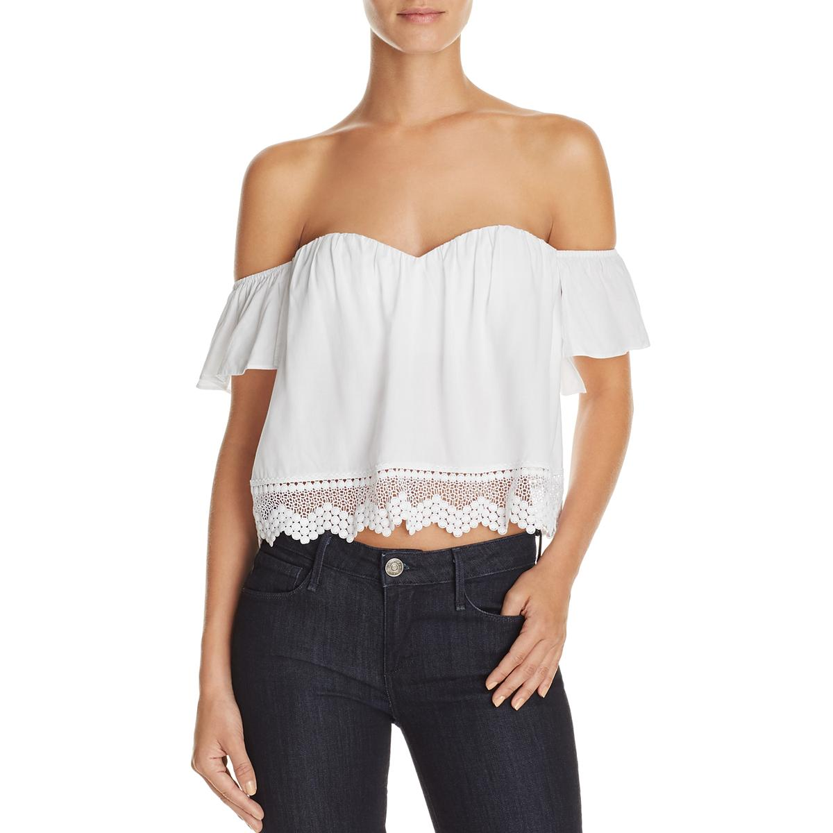 4c721444 Cotton Candy Womens White Crochet Trim Ruffled Crop Top Blouse L ...