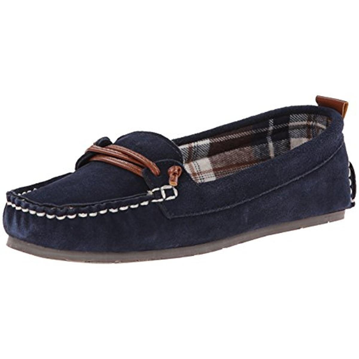 Clarks 4999 Womens Blue Suede Faux Fur Moccasins Shoes 10