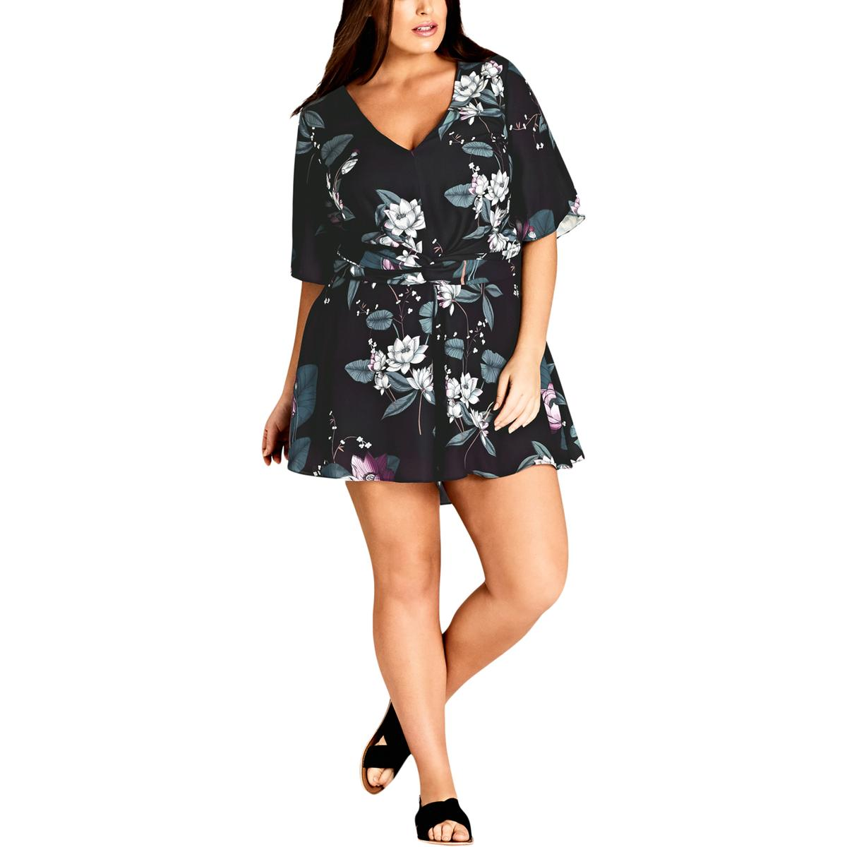 818746b725 Details about City Chic Womens Wide Sleeves Cut-Out Back Floral Print  Romper Plus BHFO 9742
