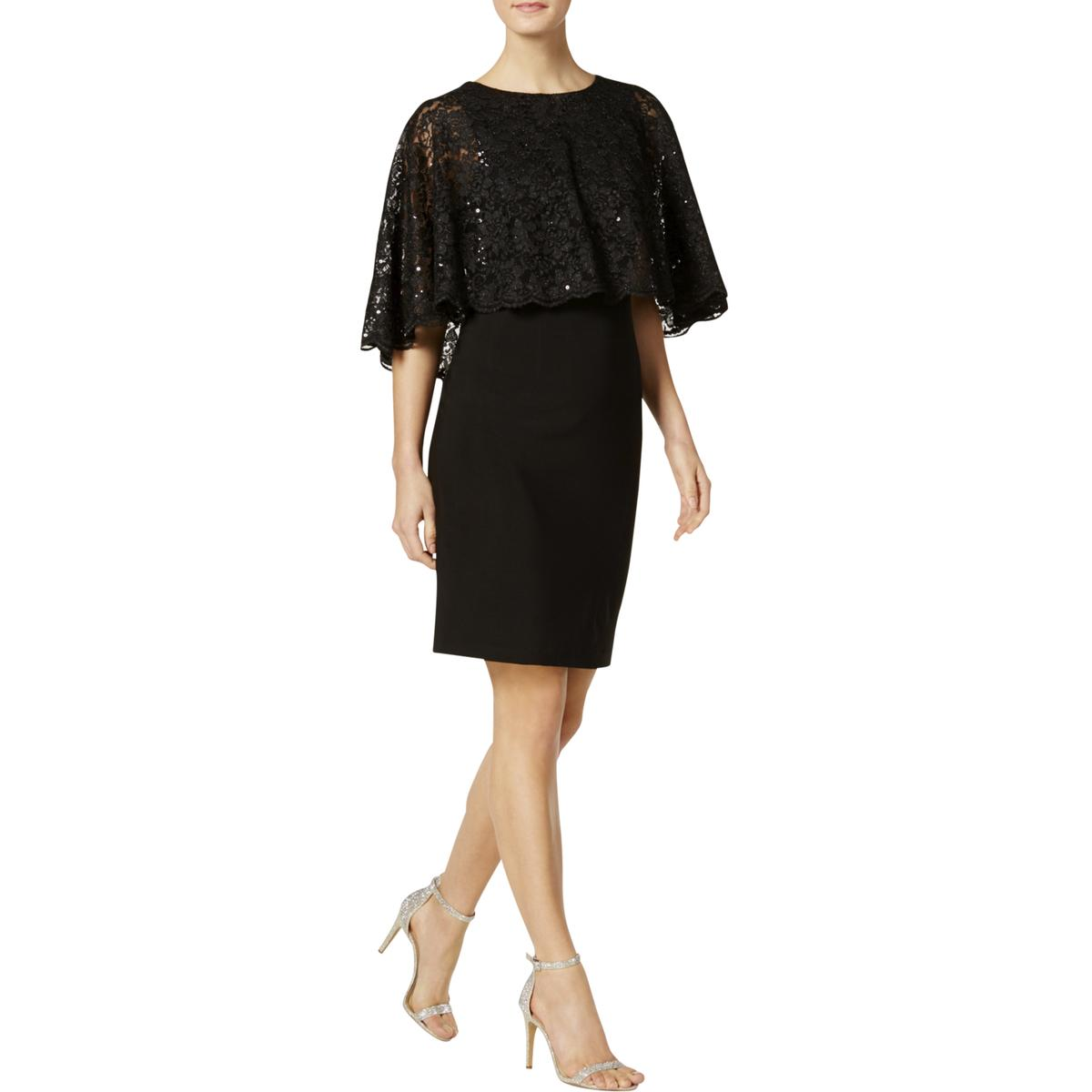 4b6c0fe60ab75 Details about Jessica Howard Womens Black Lace Popover Cape Sleeves Capelet  Dress 8 BHFO 0087