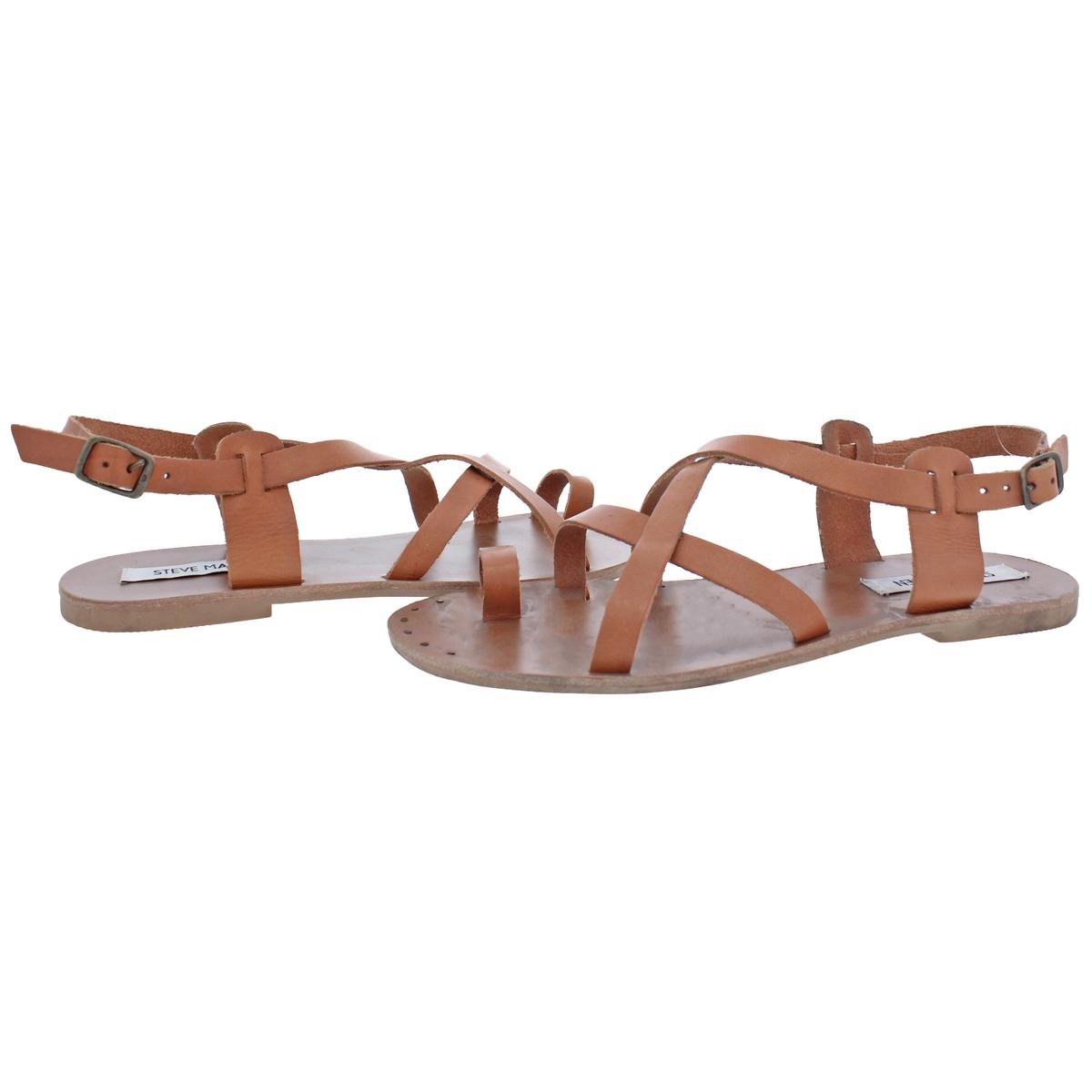 Steve-Madden-Women-039-s-Aatheena-Leather-Strappy-Slingback-Flat-Sandals-Shoes thumbnail 3