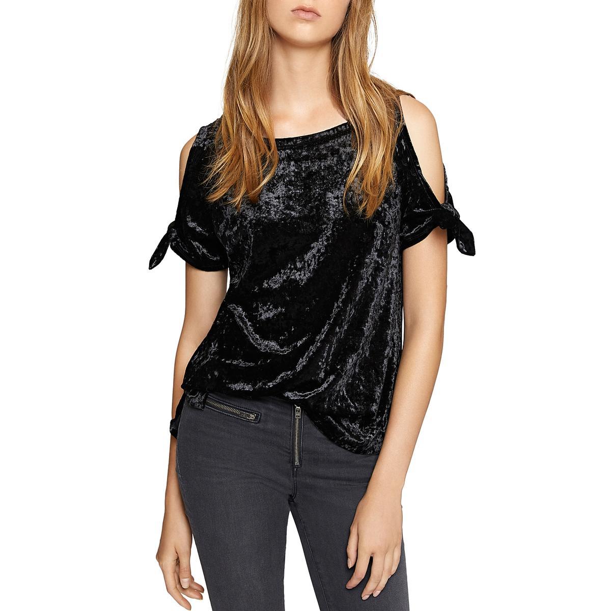 8140b884c0fc3 Details about Sanctuary Womens Lou Lou Crushed Velvet Cold Shoulder T-Shirt  Top BHFO 1398