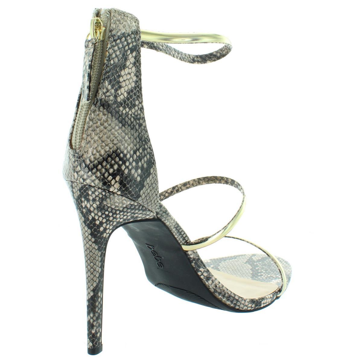 Bebe-Womens-Berdine-Strappy-Textured-Ankle-Strap-Dress-Sandals-Heels-BHFO-6118 thumbnail 4