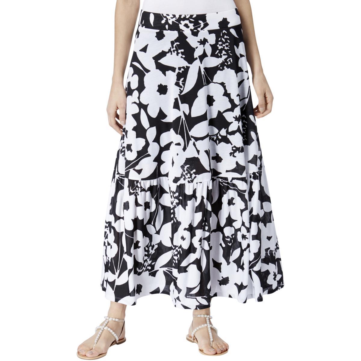 9f19bb24d9 INC Womens B/W Floral Print Pull On Long Maxi Skirt M BHFO 0031 ...