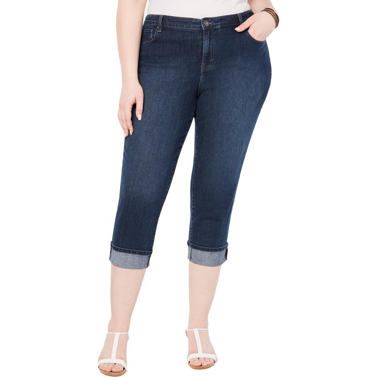 Style & Co. Womens Denim Mid Rise Capri Jeans Plus BHFO 5499
