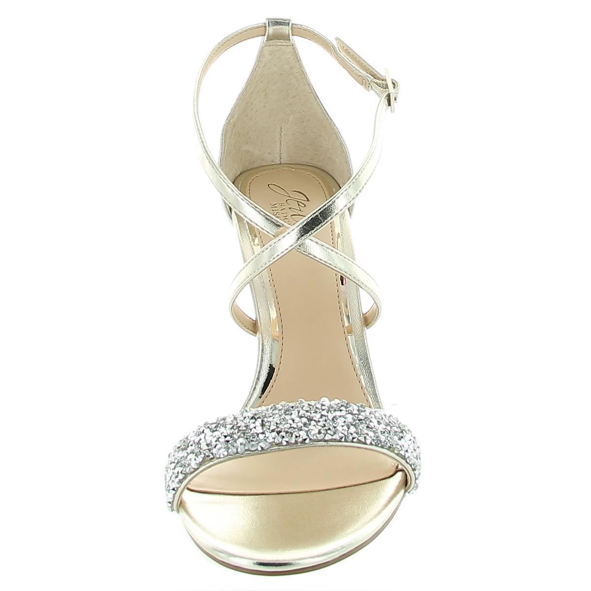 thumbnail 5 - Jewel Badgley Mischka Womens NANNA Ankle Strap Open Toe Pumps Shoes BHFO 1037