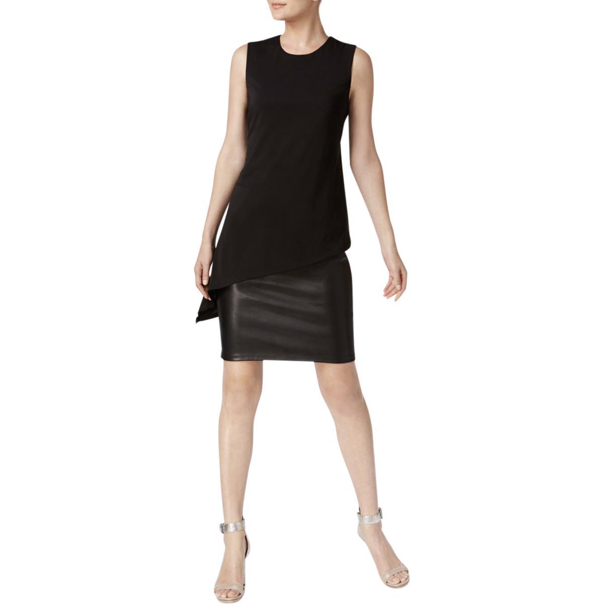 18487e21808 Details about Calvin Klein Womens Black Faux Leather Mini Party Cocktail  Dress 2 BHFO 4722