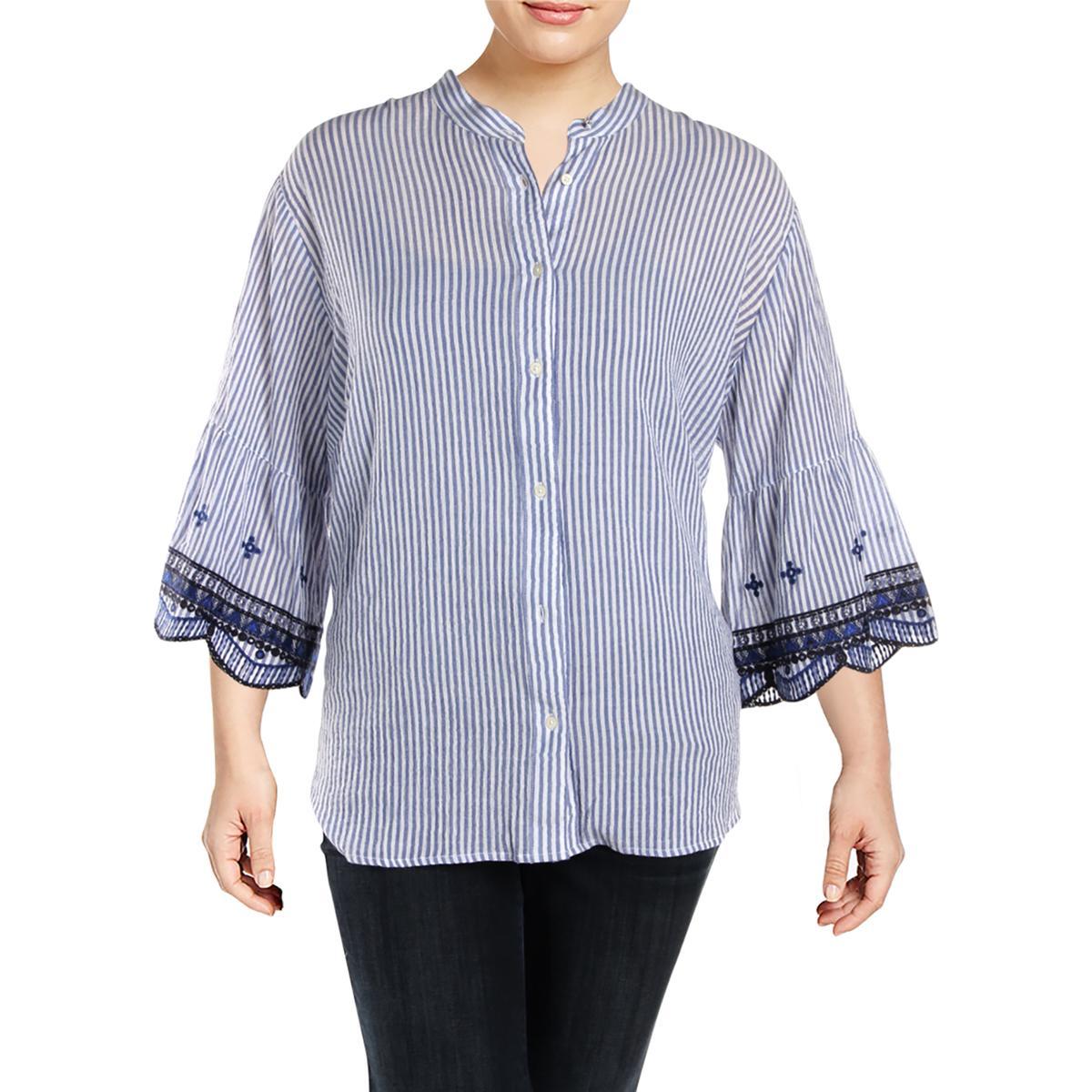 9a4384ee71e Details about Lauren Ralph Lauren Womens Kespo Blue Button-Down Top Shirt  Plus 3X BHFO 3547
