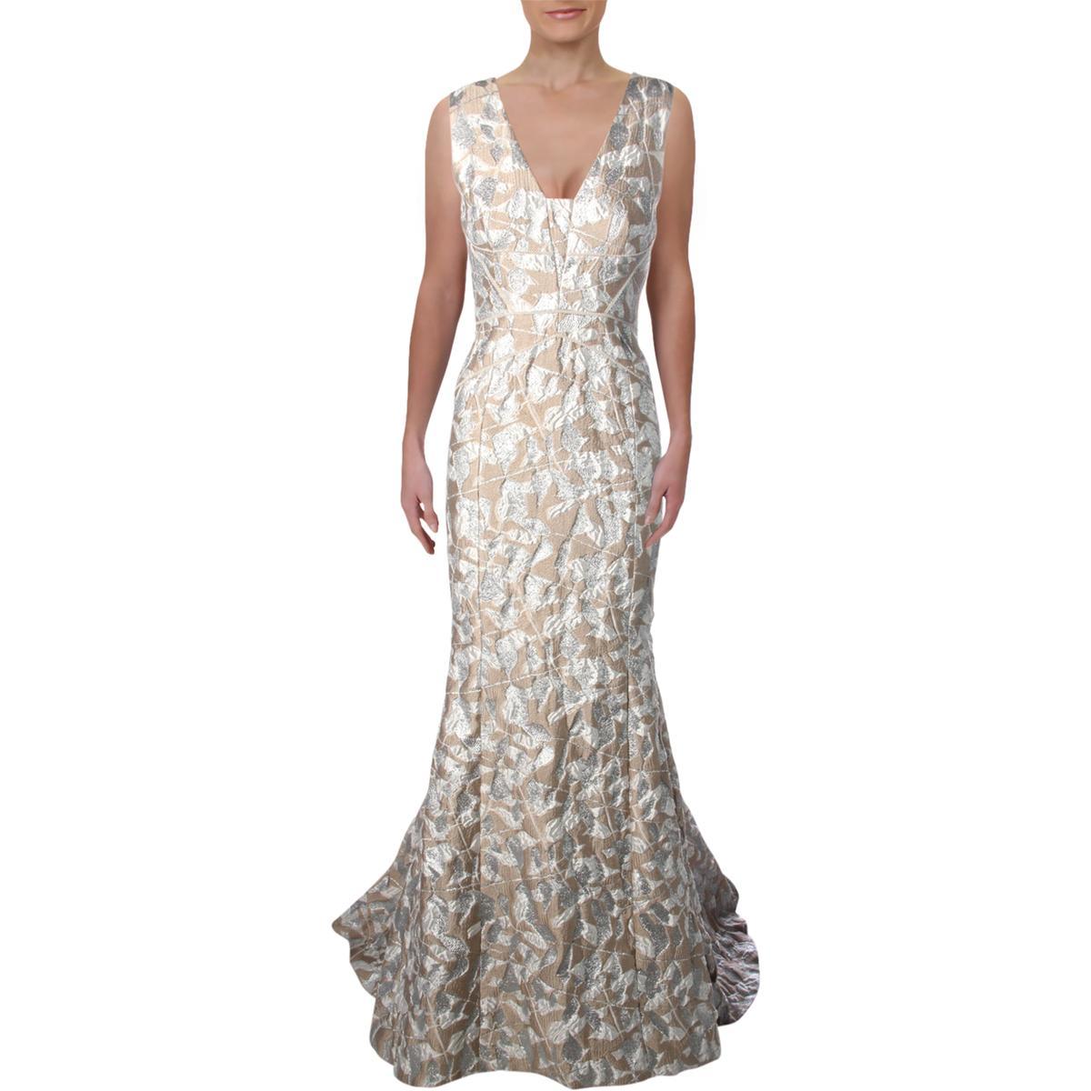 dfb9171540e Details about J. Mendel Womens Beige Metallic Sleeveless Evening Dress Gown  8 BHFO 7850