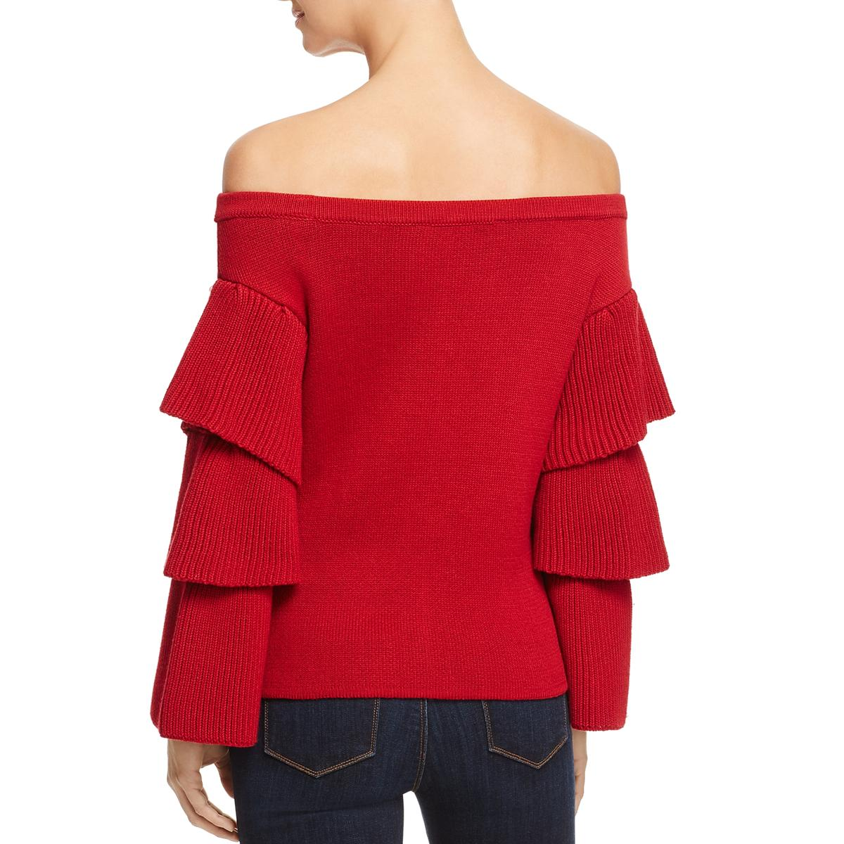 9b53c5220ca06 Details about Endless Rose Womens Red Off-The-Shoulder Knit Pullover  Sweater Top XS BHFO 5259