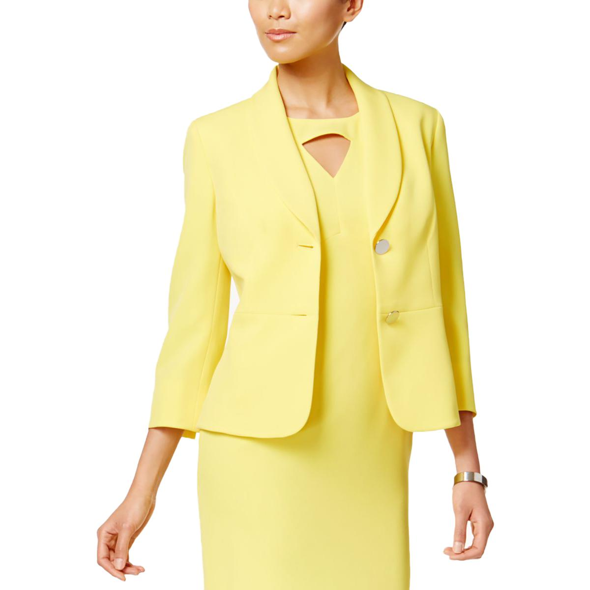 a2d6ad70b37f Details about Kasper Womens Crepe Shawl-Collar 3/4 Sleeves Two-Button Blazer  BHFO 8009