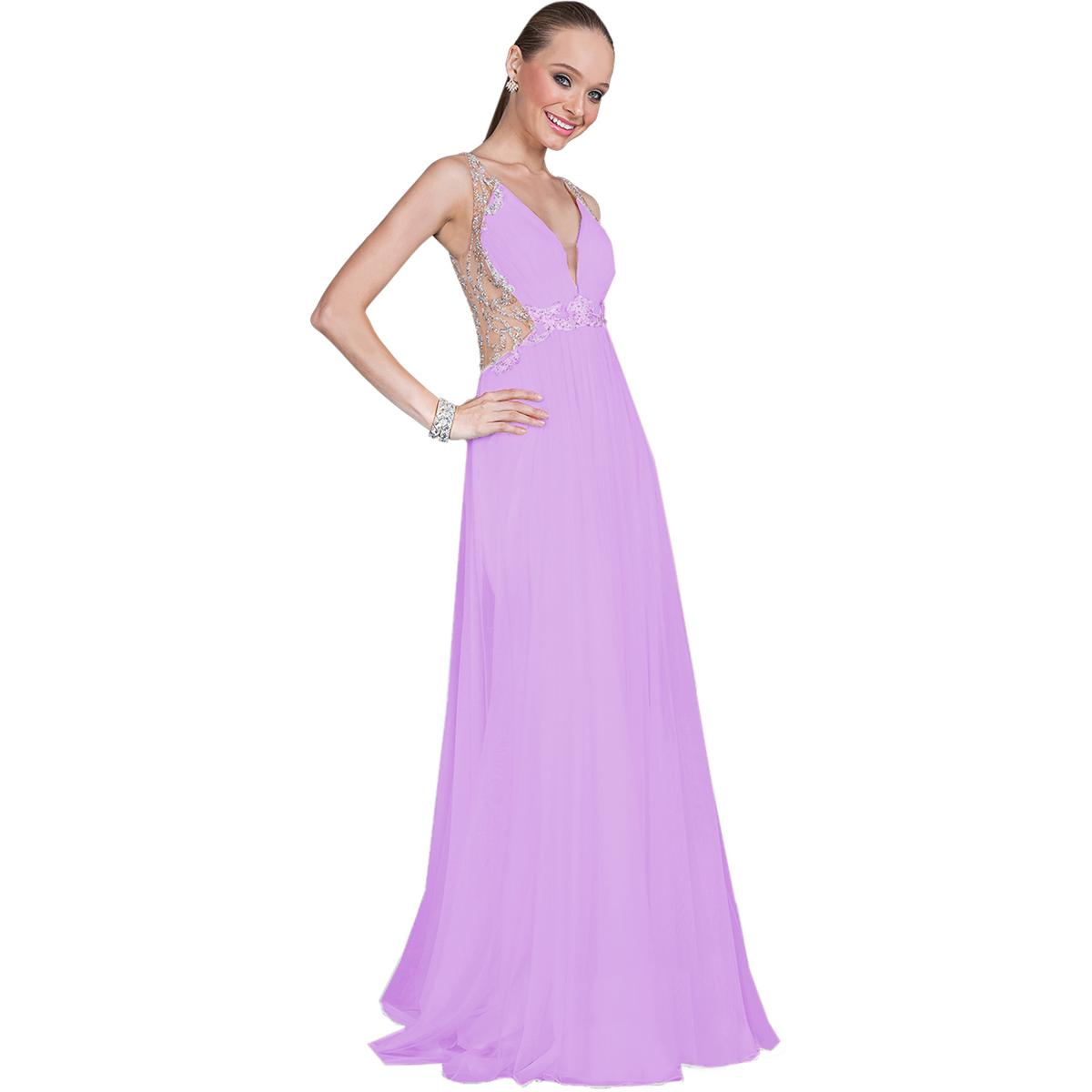 Terani Couture lila Prom Cut-Out Full-Length Evening Dress Gown 0 BHFO 4830