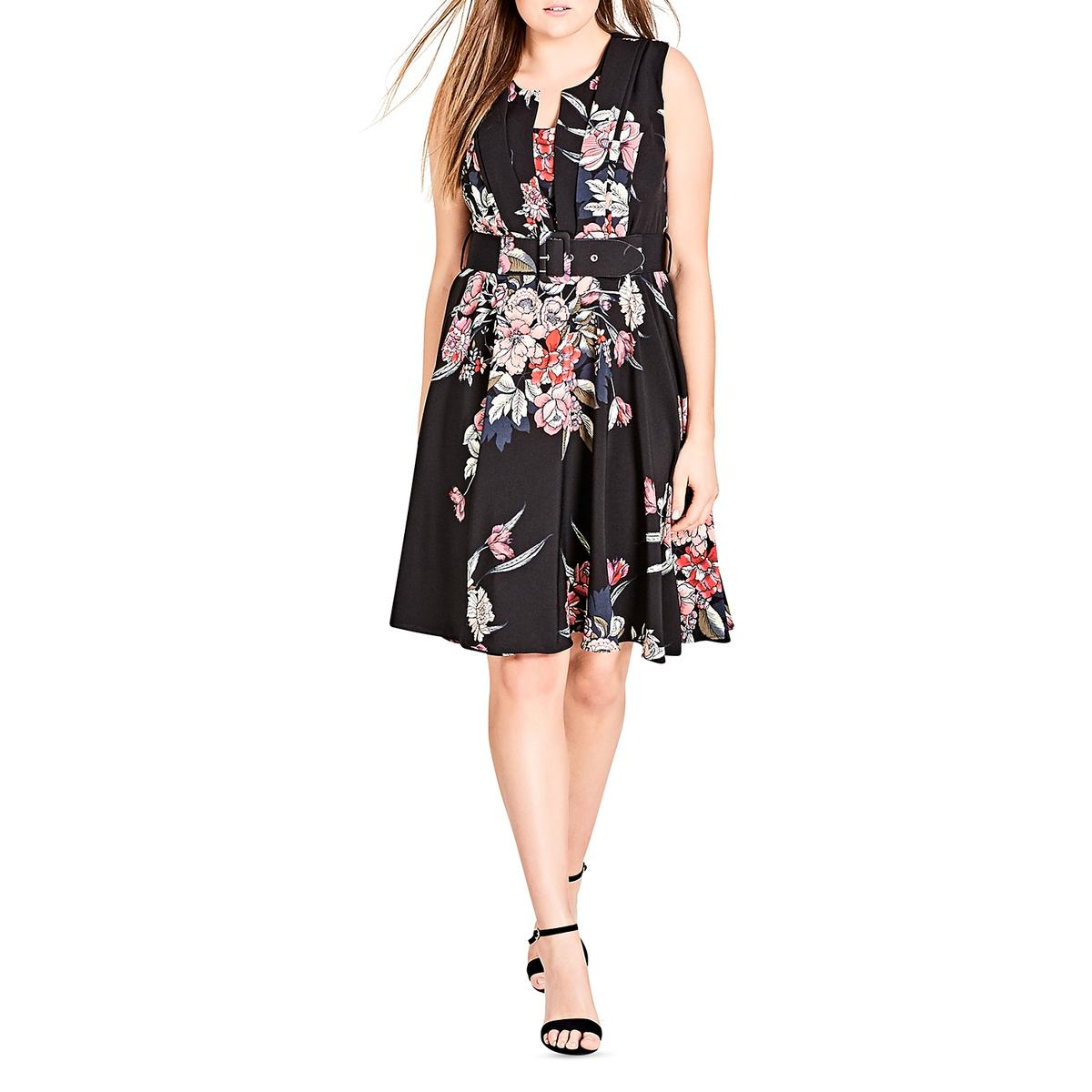 Details about City Chic Womens Misty Floral Print Office Wear to Work Dress  Plus BHFO 1422 b8ae79274