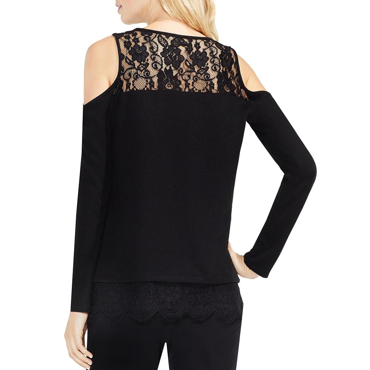 1e3a41a63d757 Details about Vince Camuto Womens Open Shoulder Knit Lace Dress Top Blouse  BHFO 4522
