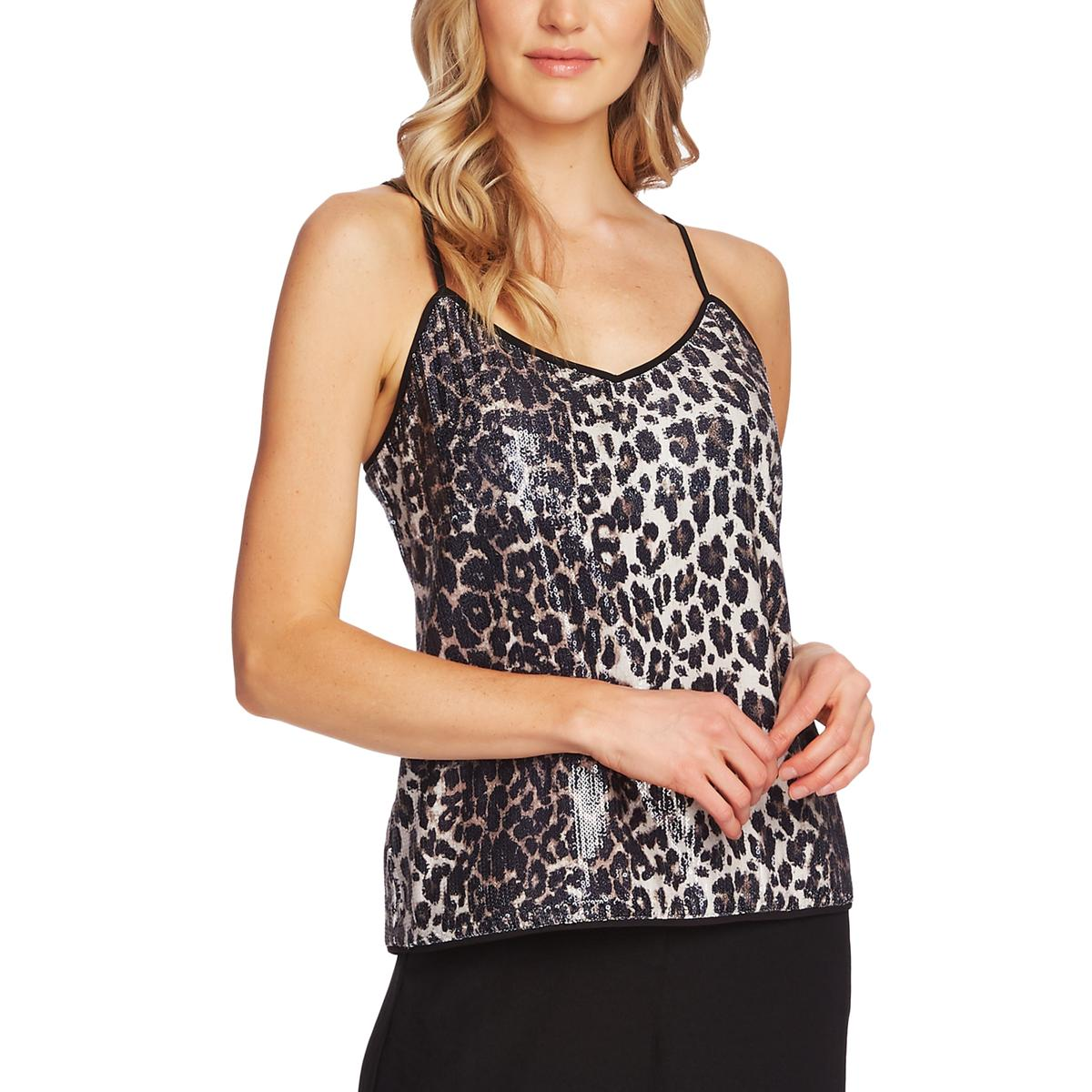Vince Camuto Womens Animal Print Sequined V-Neck Tank Top Shell BHFO 8203
