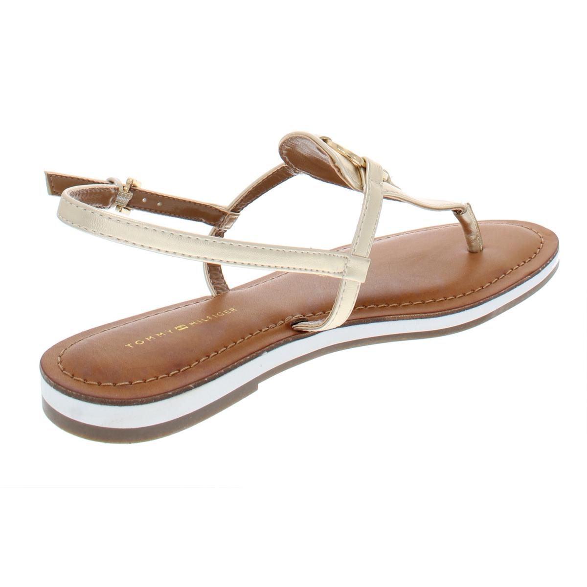 Tommy-Hilfiger-Womens-Genei-Metallic-T-Strap-Thong-Sandals-Shoes-BHFO-7834 thumbnail 6