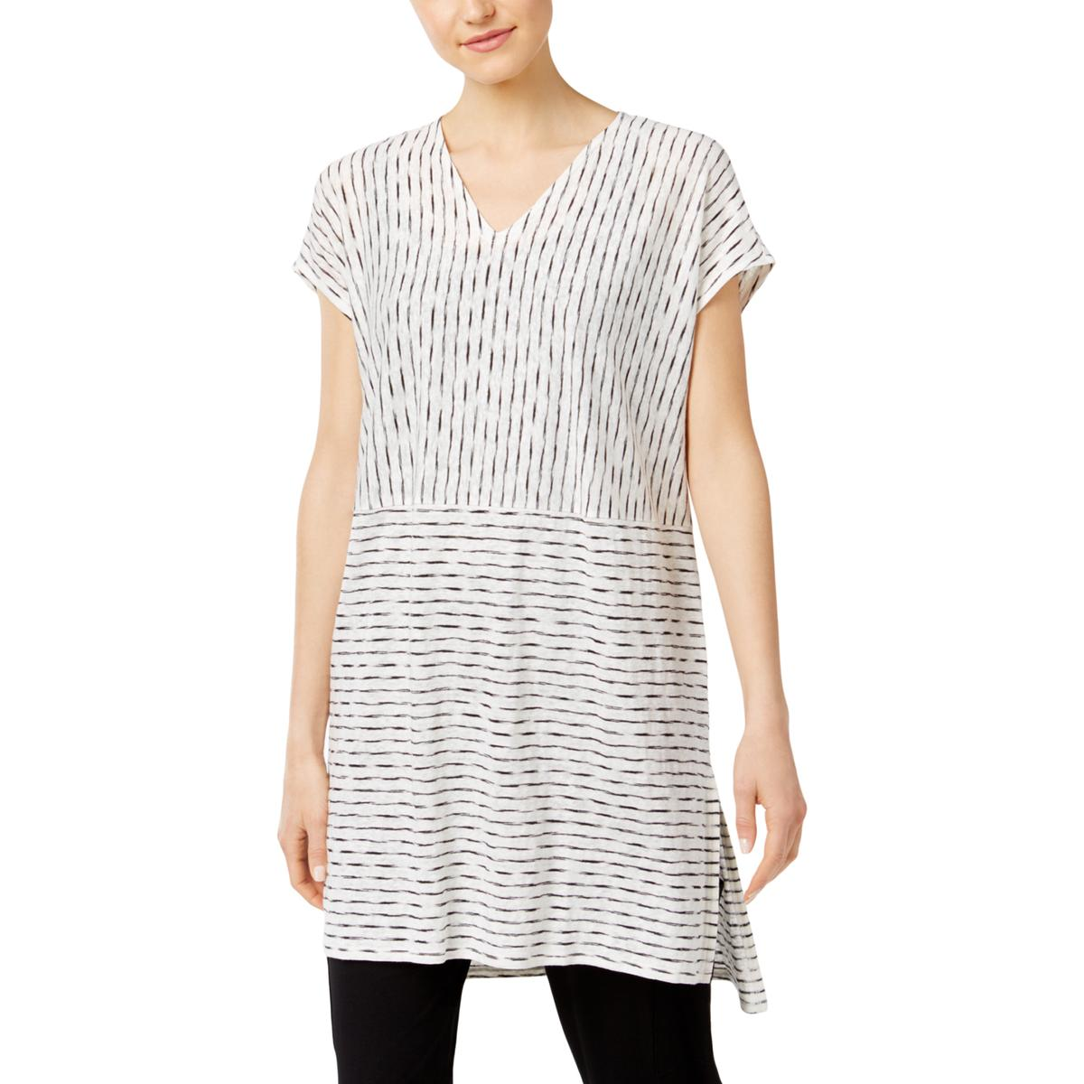 ce51b1a646114 Details about Eileen Fisher Womens B W Linen Hi-Low Tunic Top Blouse Petites  PL BHFO 4295