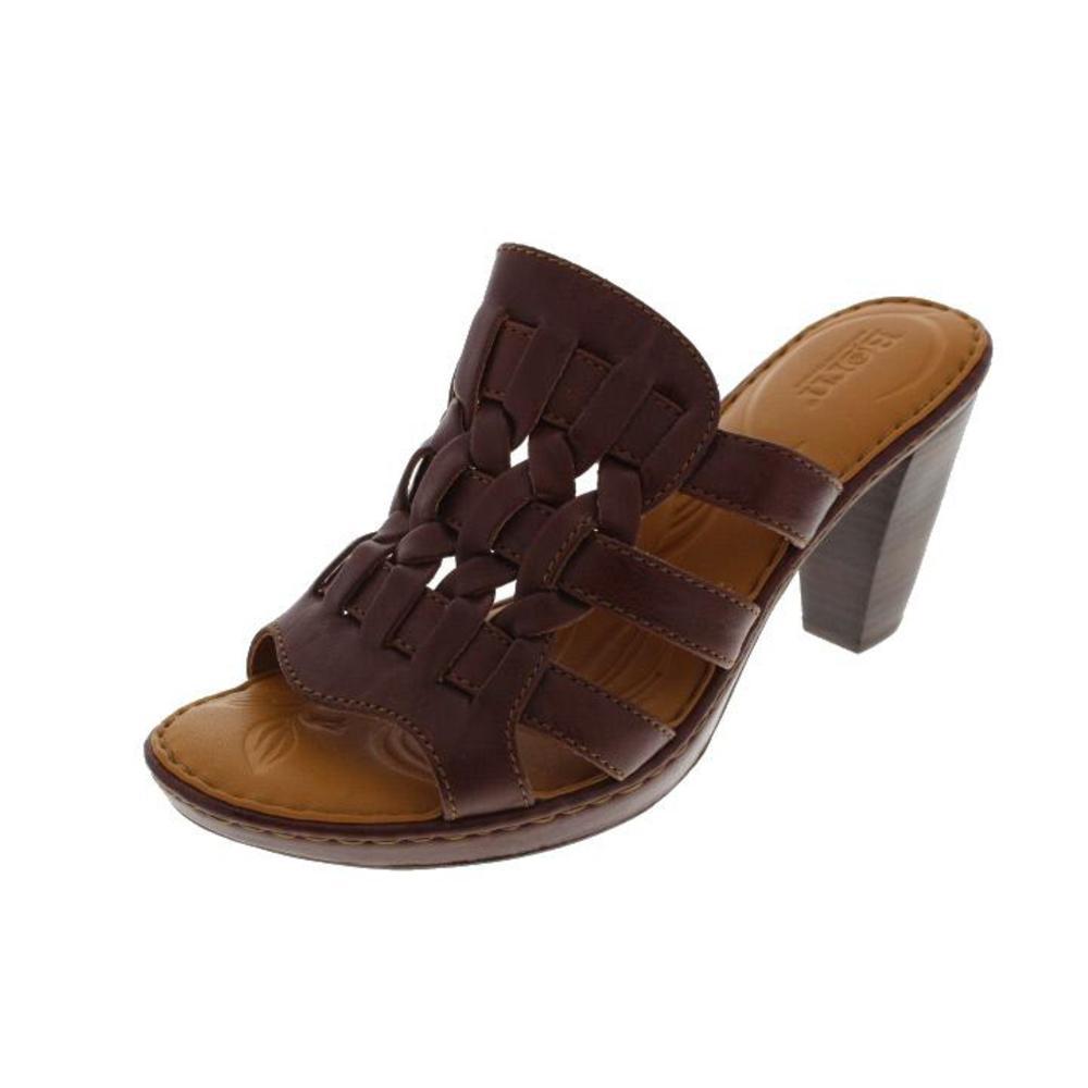 born new brown leather heels platform slide sandals shoes
