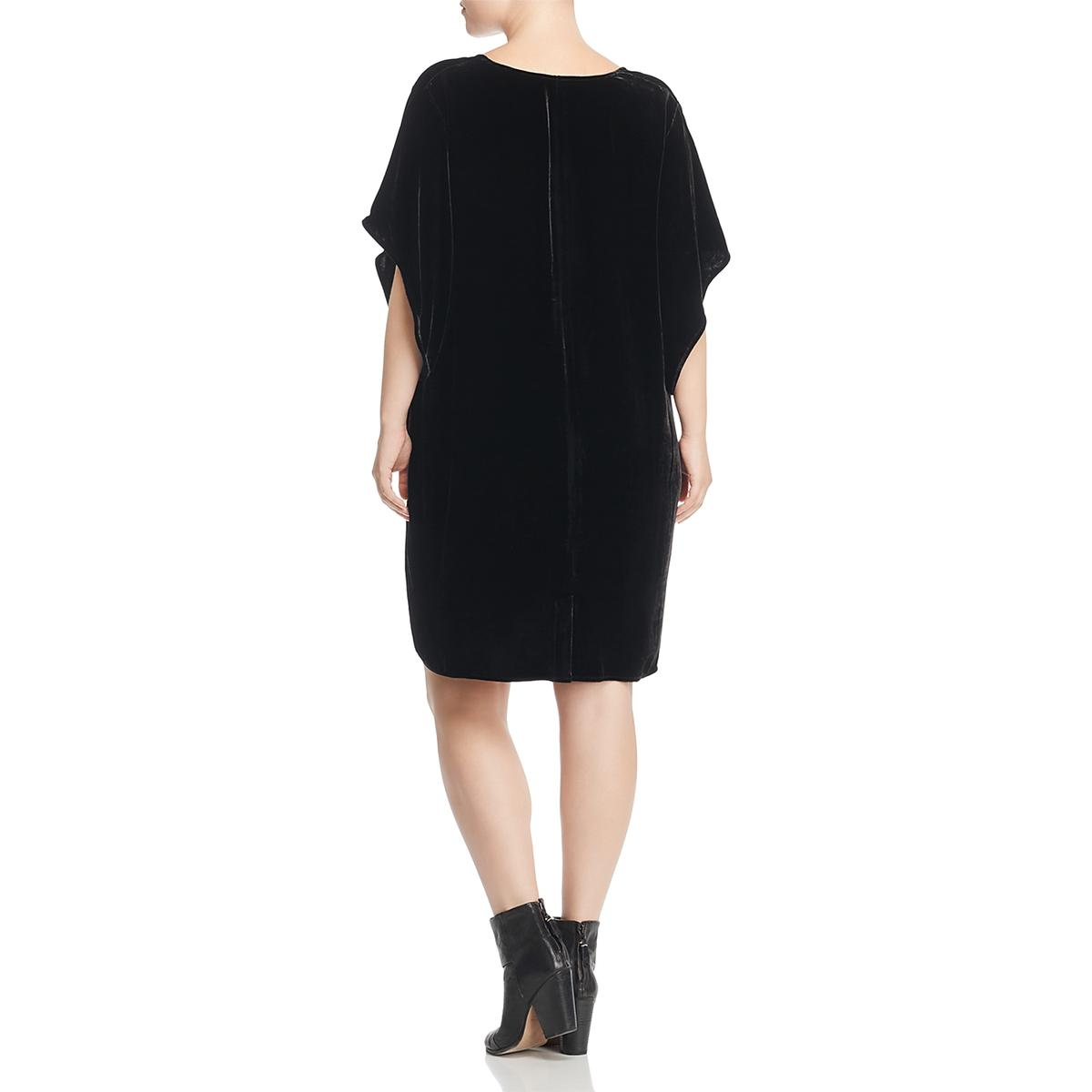5642f0ec47a Details about Eileen Fisher Womens Black Velvet V-Neck Party Cocktail Dress  Plus 1X BHFO 7843