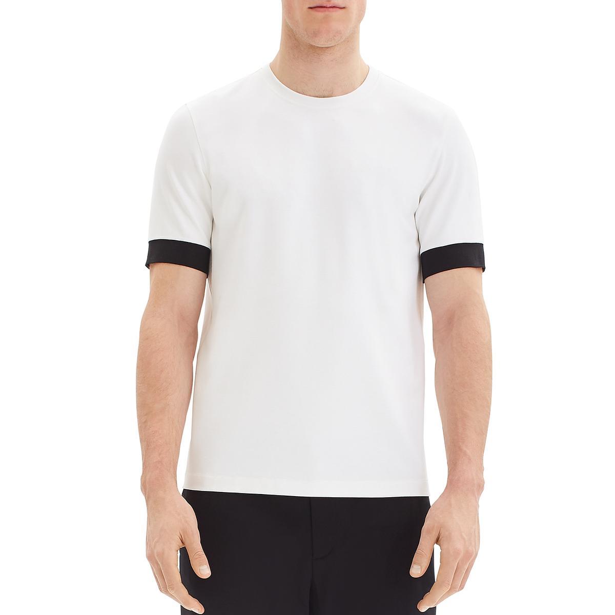 Theory Mens Ivory Layered Crewneck Tee T-Shirt L BHFO 7654