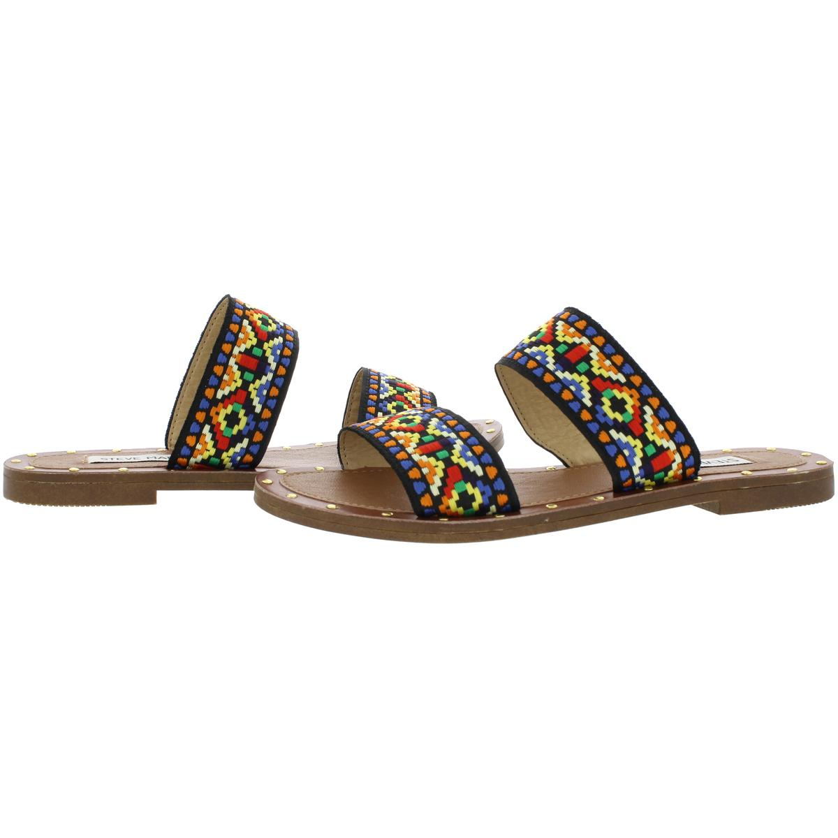 2270f8a826f Details about Steve Madden Womens Marcia Tribal Double Strap Flat Sandals  Shoes BHFO 8168