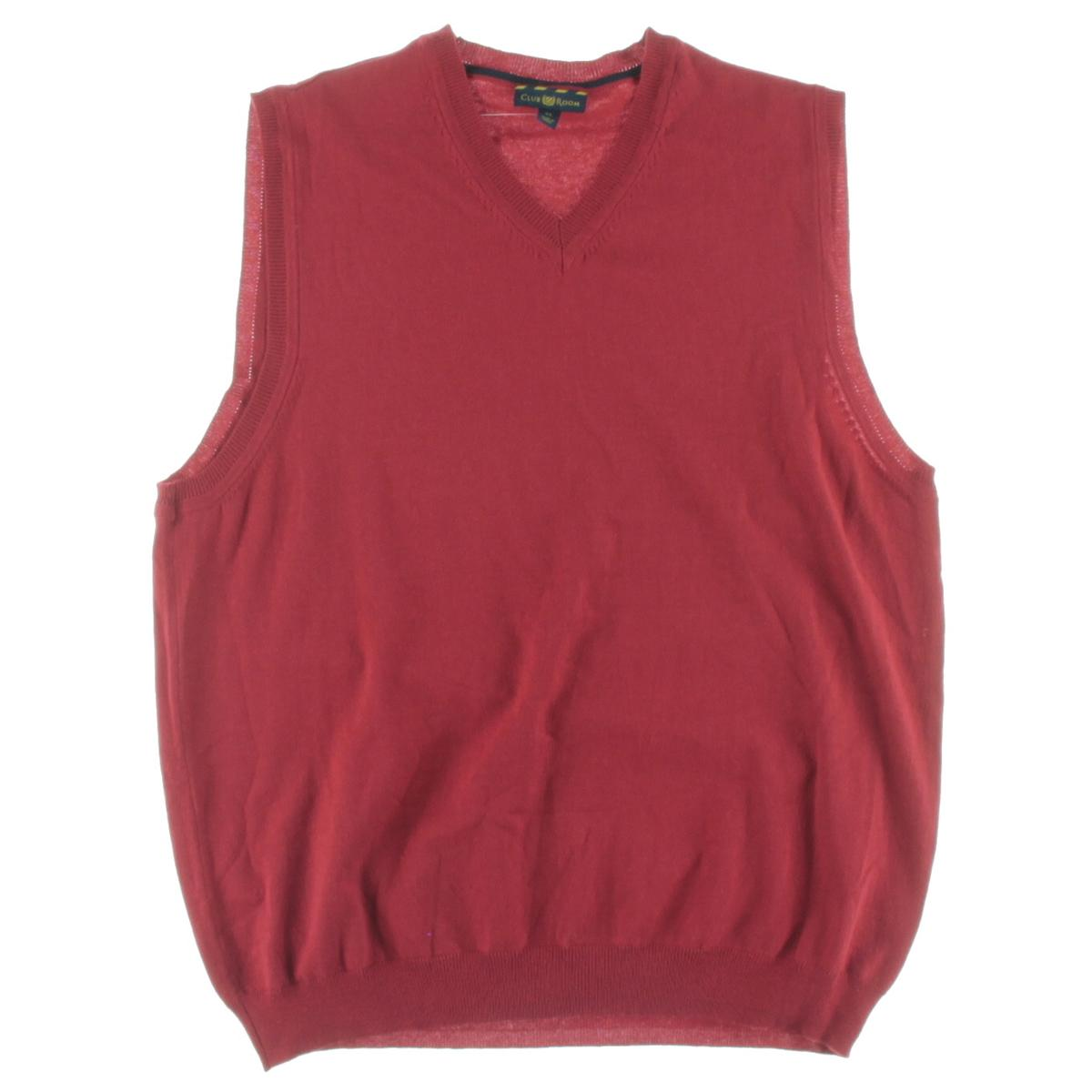Club Room 9631 Mens Solid V Neck Sweater Vest BHFO | eBay