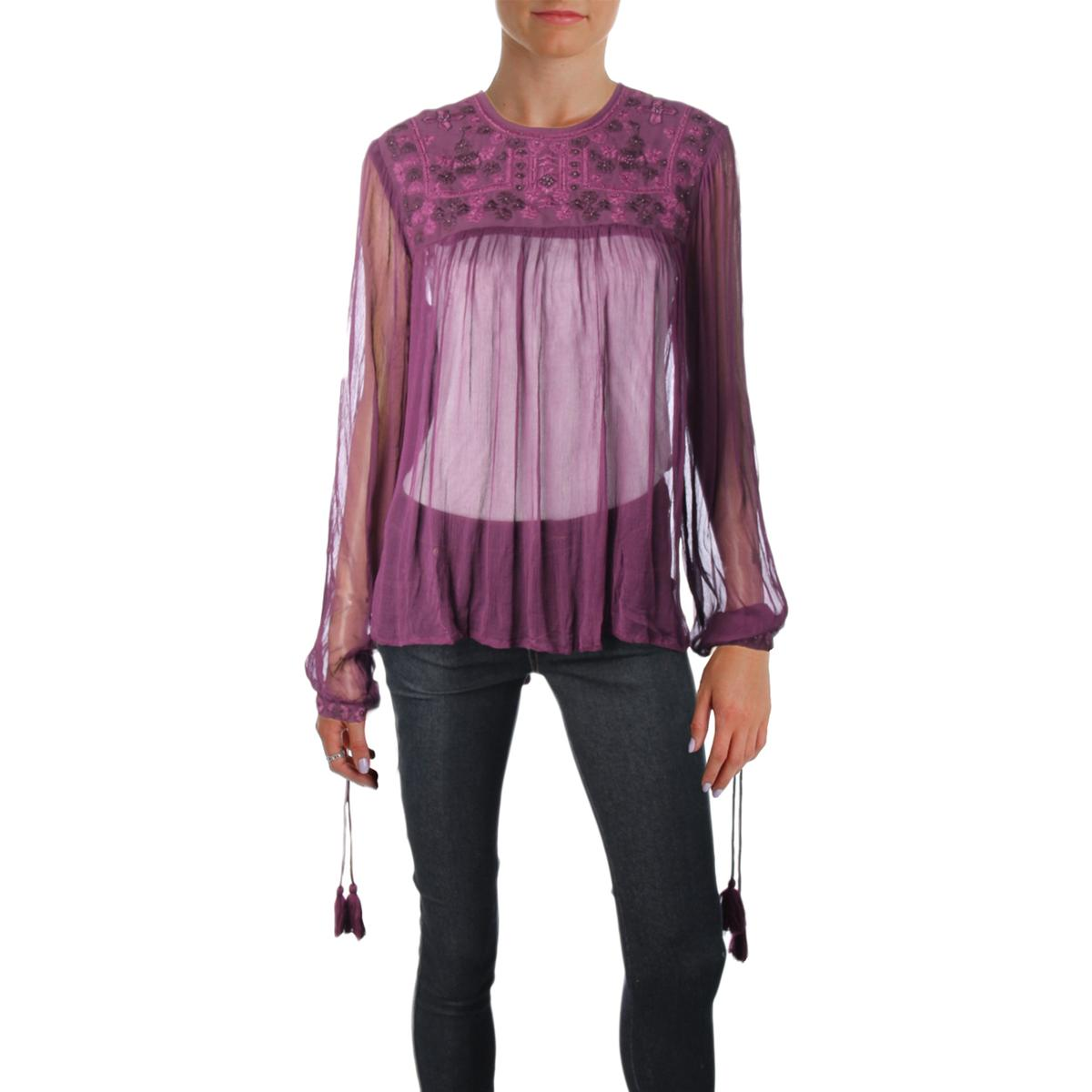 People Womens Purple Sheer Embroidered Night Out Blouse Top Xs Bhfo