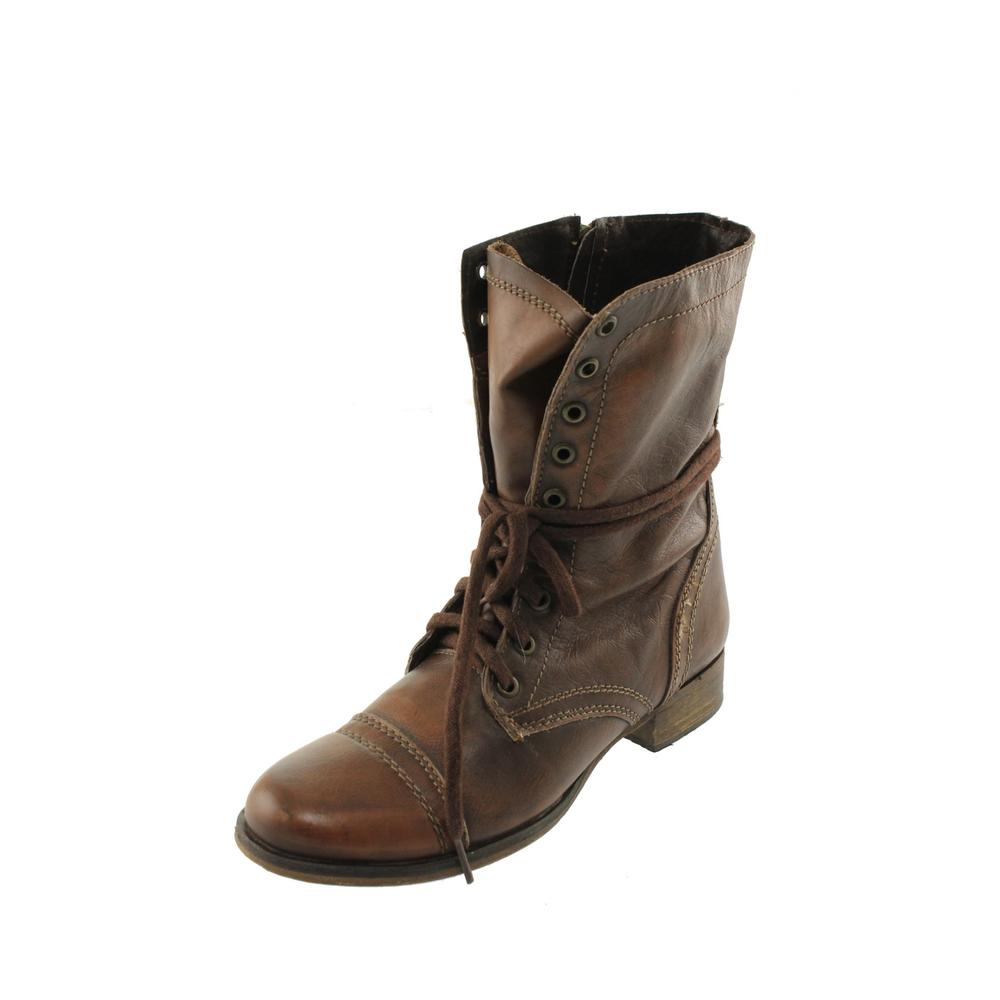 steve madden troopa brown leather lace up combat boots