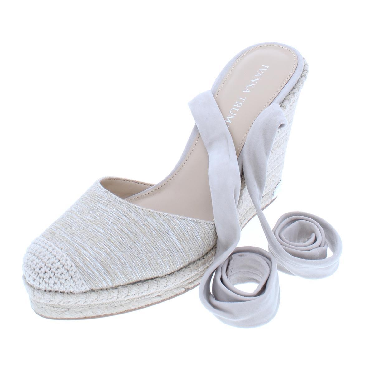ed9fa8fb4659 Details about Ivanka Trump Womens Winikka 2 Beige Wedge Heels Shoes 10  Medium (B