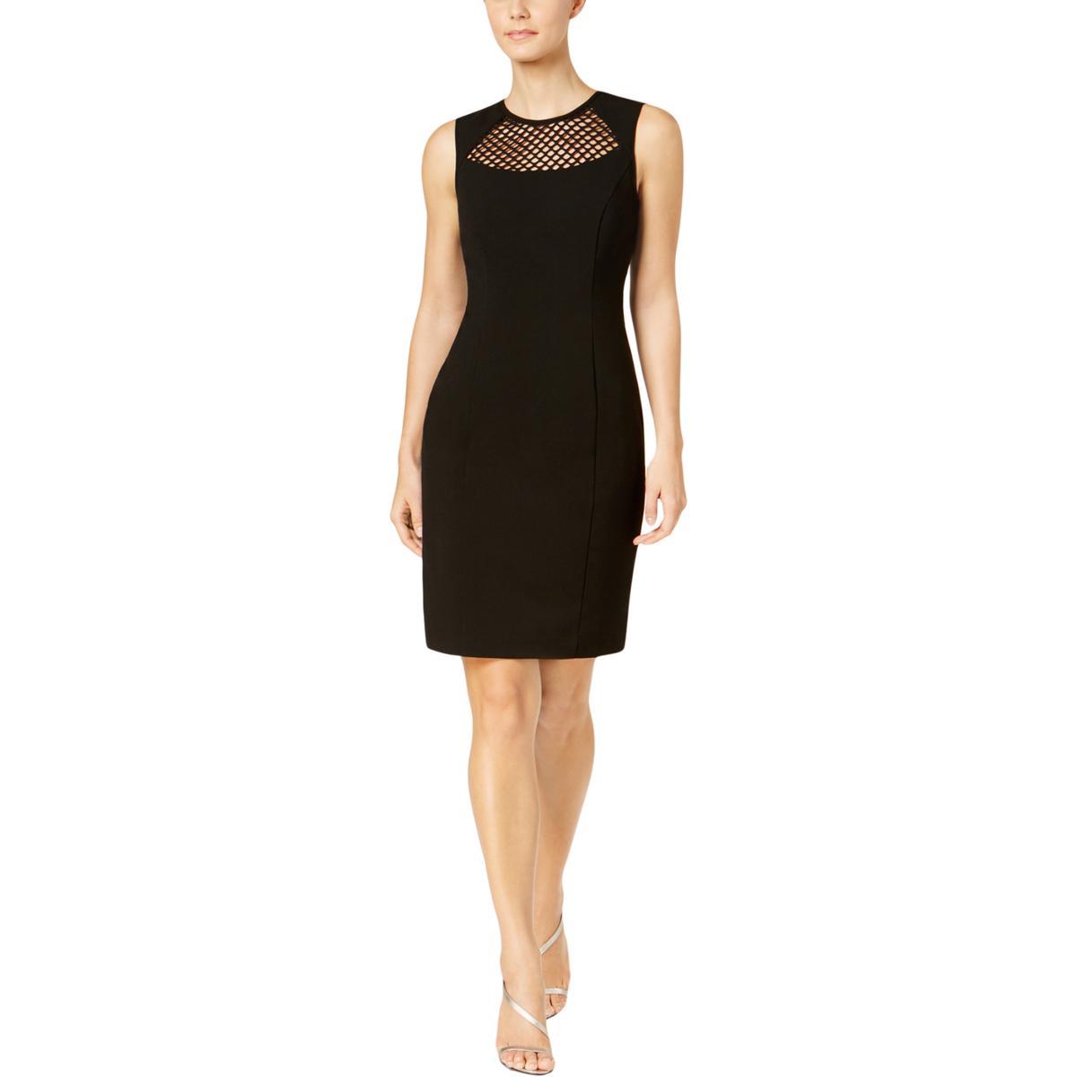 f874b88bfa6e1 Details about Calvin Klein Womens Black Mesh Inset Sheath Midi Dress Petites  2P BHFO 6120