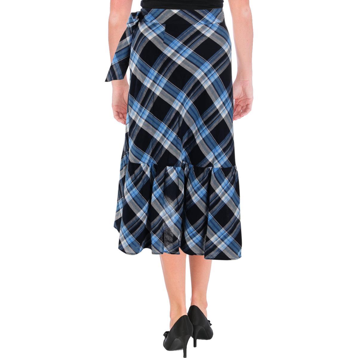 Lauren Ralph Lauren Womens Blue Plaid Ruffled Asymmetrical Skirt 10
