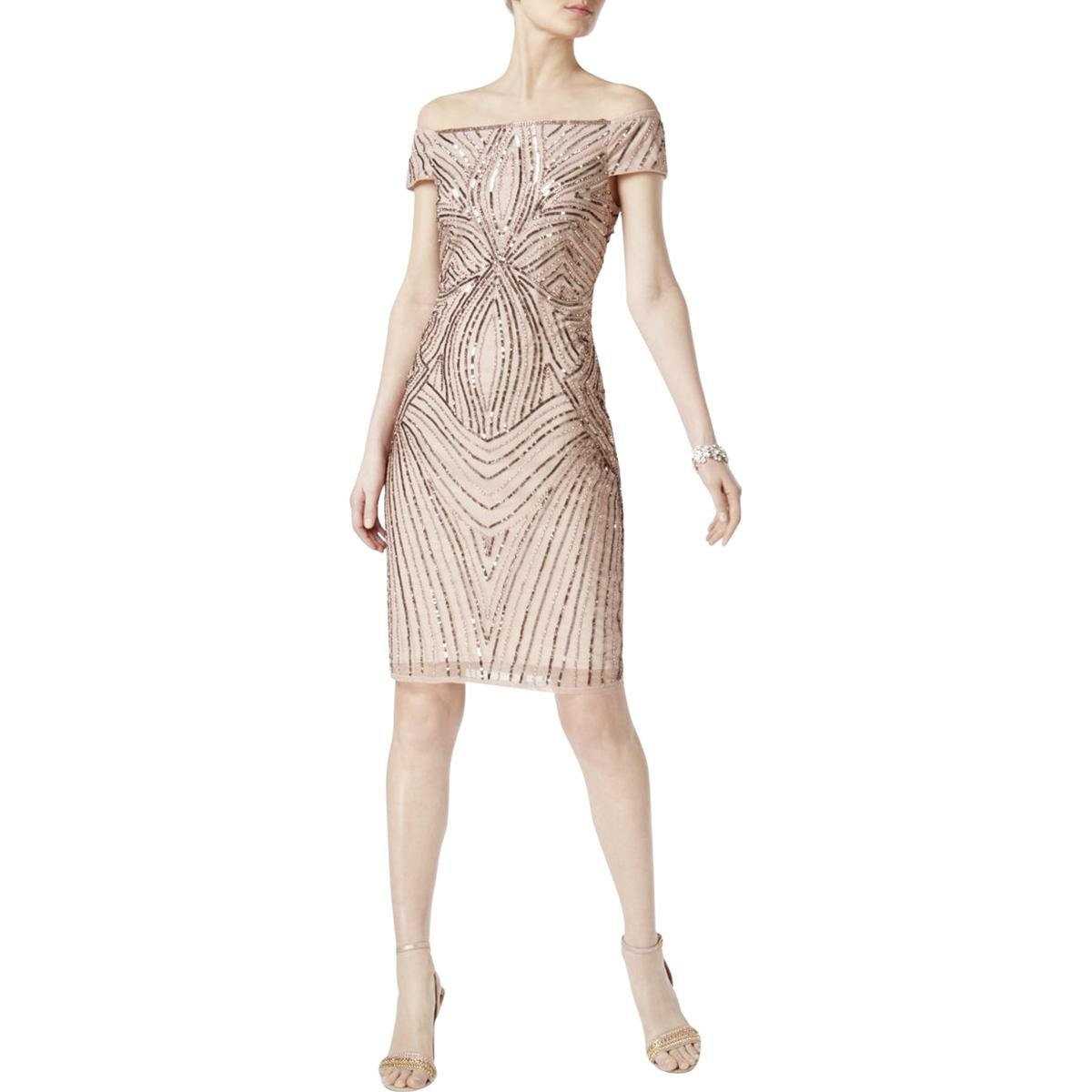 5ee9e1ce Details about Adrianna Papell Womens Pink Sequined Sheath Cocktail Dress  Petites 2P BHFO 3395