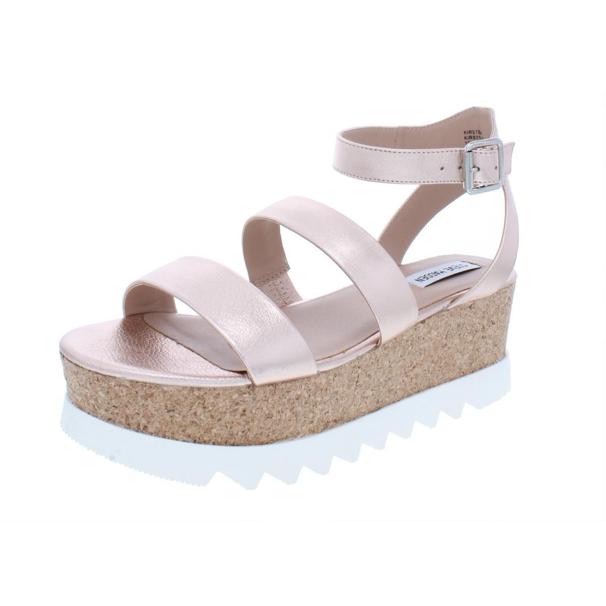 ac7088847095 Details about Steve Madden Womens Kirsten Metallic Platform Sandals 7  Medium (B