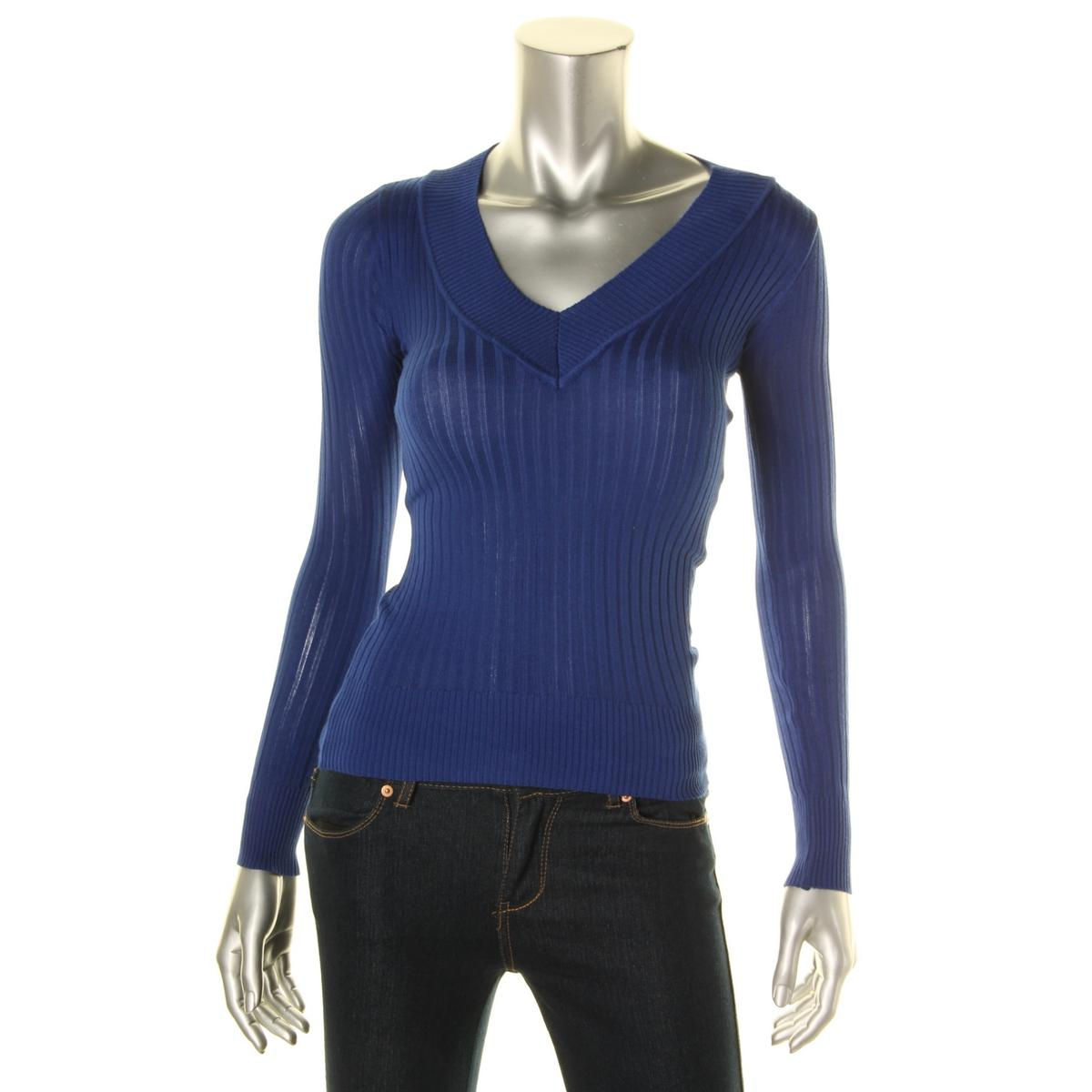 ENERGIE 6790 Womens Eileen Blue Ribbed Trim Pullover Sweater Top ...