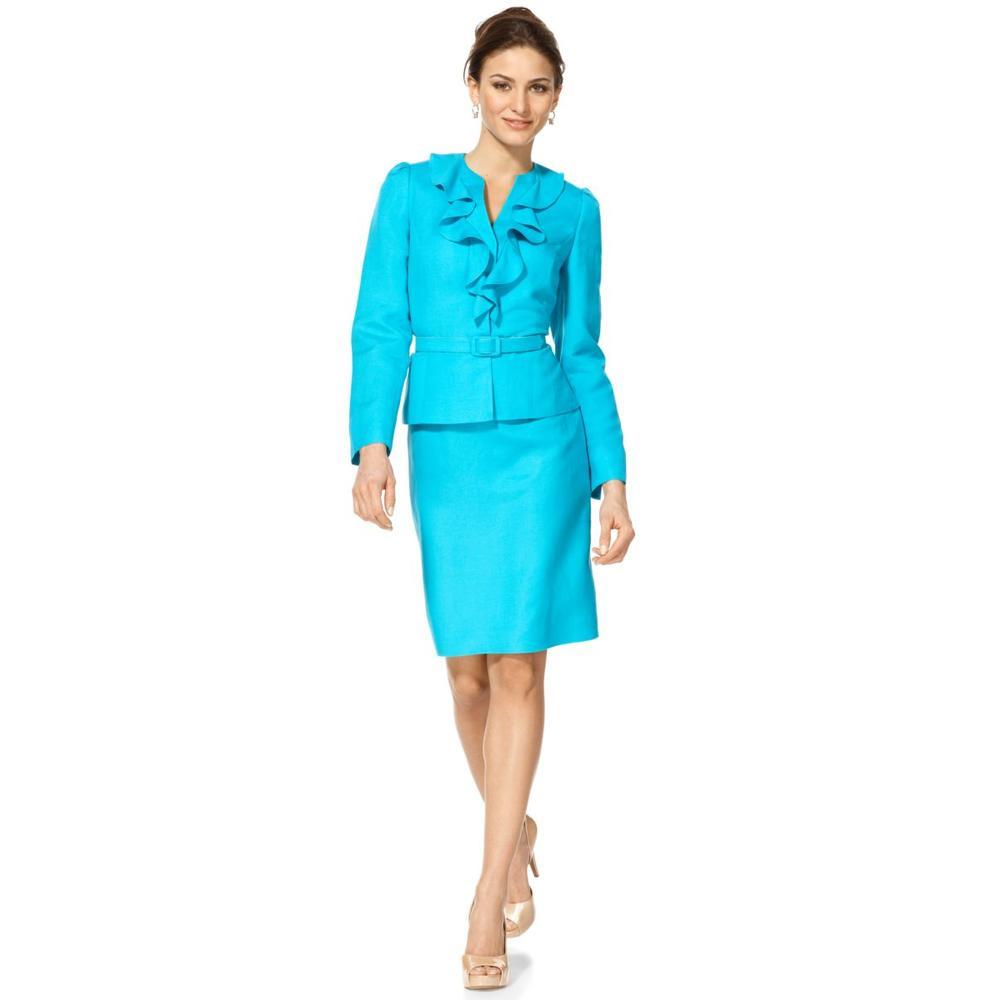 tahari new ritalee blue linen lined skirt suit 10 bhfo ebay