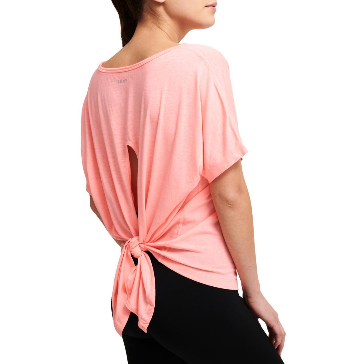37f64e67e9 DKNY Sport Womens Pink Yoga Fitness Running T-Shirt Top M BHFO 2528 ...