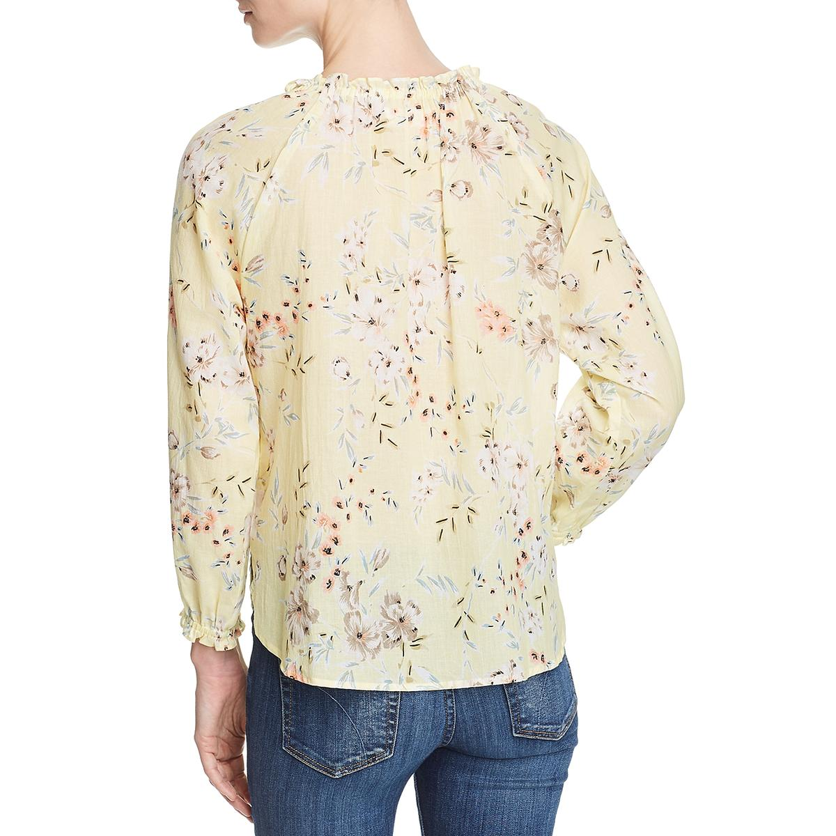 Velvet Womens Yellow Sheer Floral Print Pullover Peasant Top Blouse XS BHFO 9944