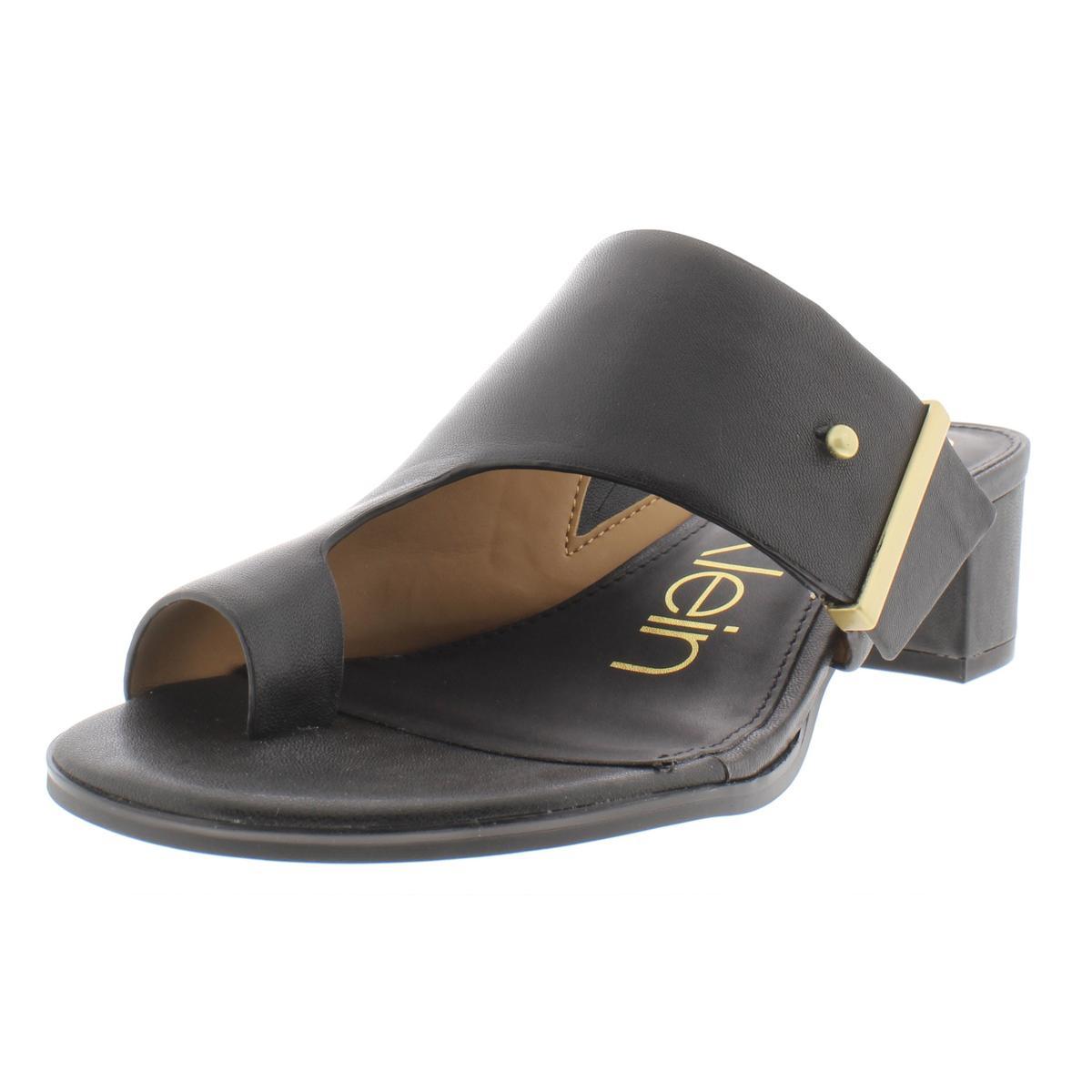 8be27f7332 Calvin Klein Womens Daria Leather Block Heel Dress Sandals Shoes ...