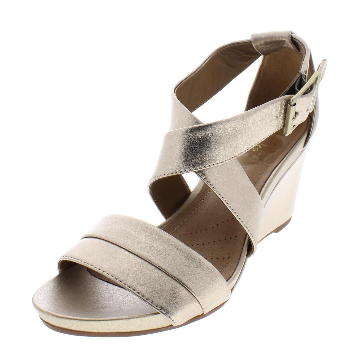 e036bd18168 Details about Clarks Womens Acina Newport Gold Wedge Sandals Shoes 6.5  Medium (B