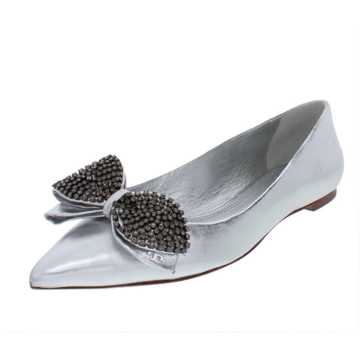 73c709106c4bbf Details about Tory Burch Womens Rosalind Silver Ballet Flats Shoes 8 Medium  (B