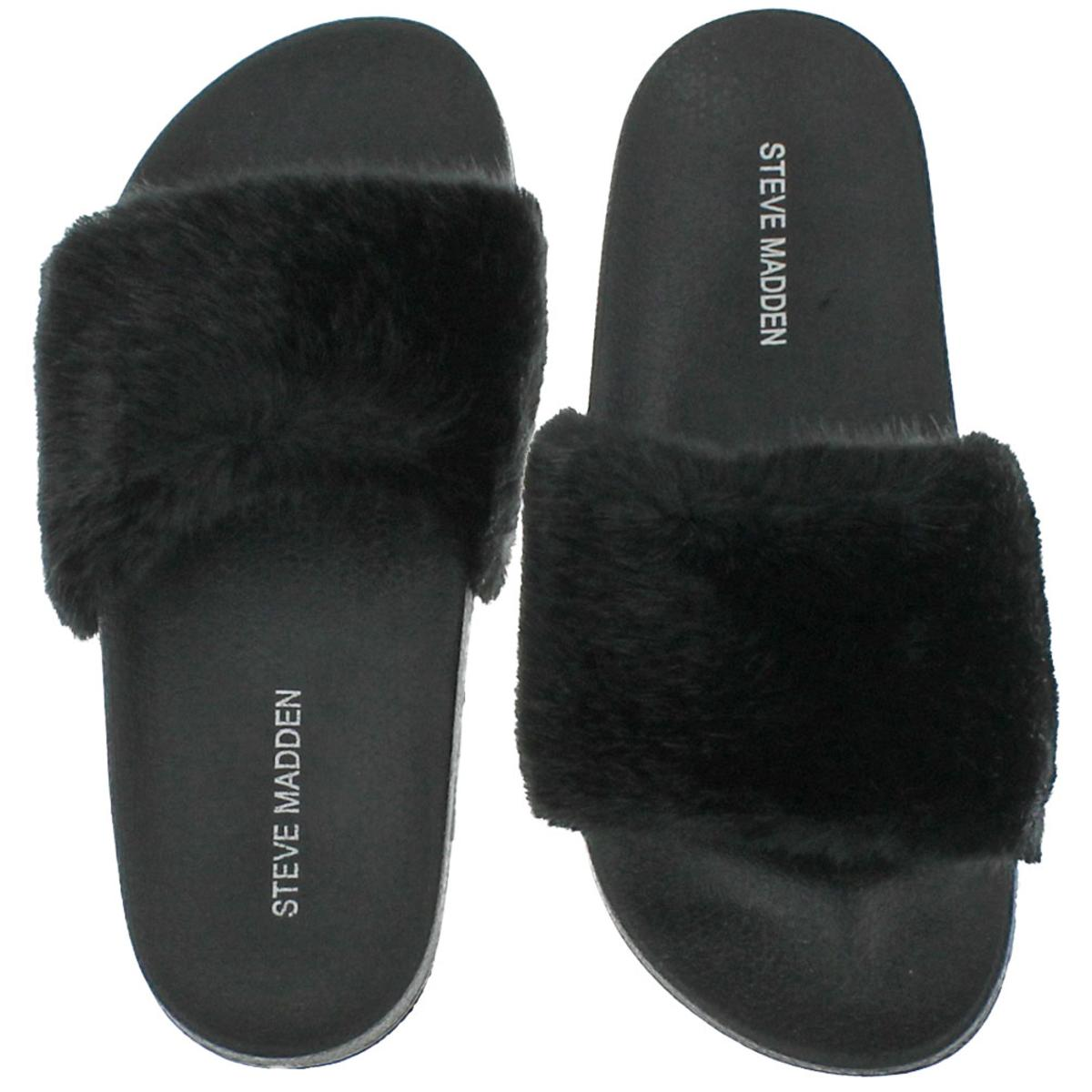 Steve-Madden-Softey-Women-039-s-Faux-Fur-Casual-Spa-Pool-Slide-Sandals-Shoes thumbnail 4