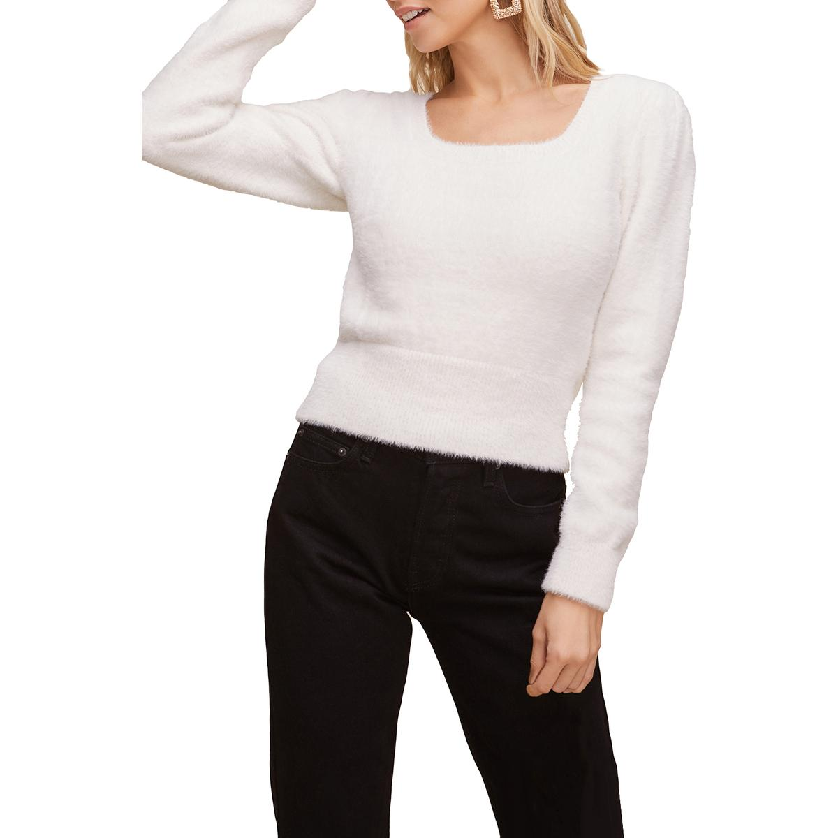 ASTR The Label Womens Fuzzy Square Neck Long Sleeve