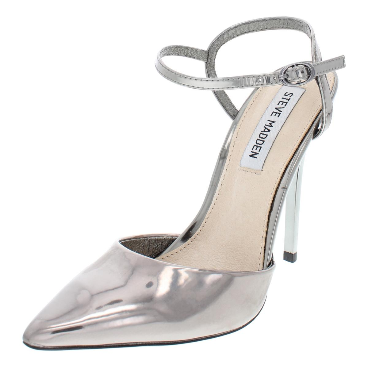 Details about Steve Madden Womens Fantasia Silver Patent Heels Shoes 6  Medium (B