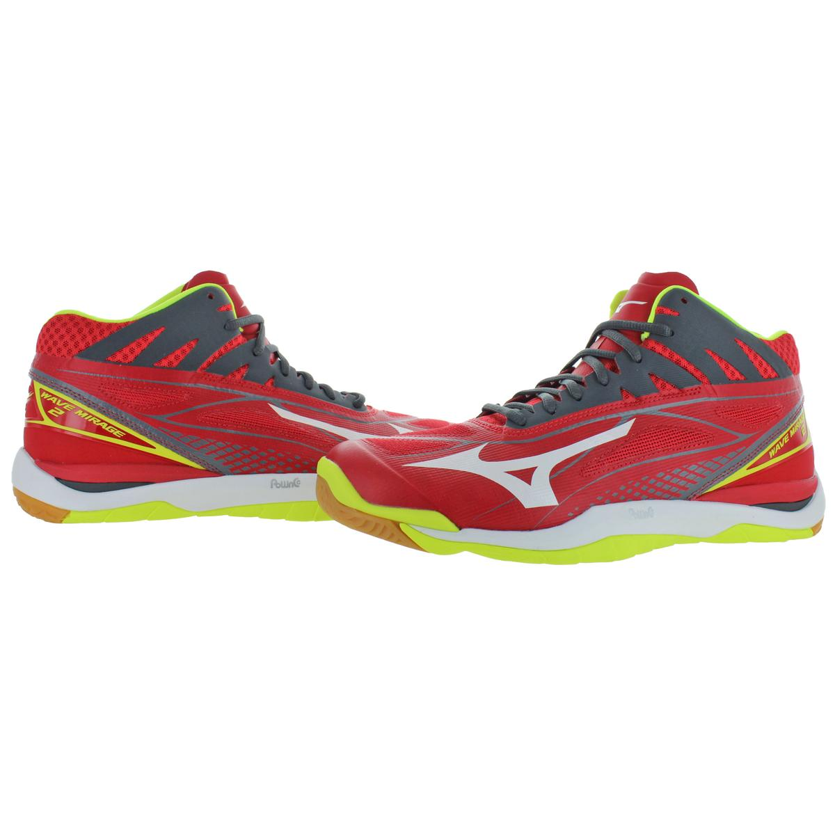 Mizuno-Mens-Wave-Mirage-2-Mid-Lace-Up-Mid-Top-Handball-Sneakers-Shoes-BHFO-9977 thumbnail 5