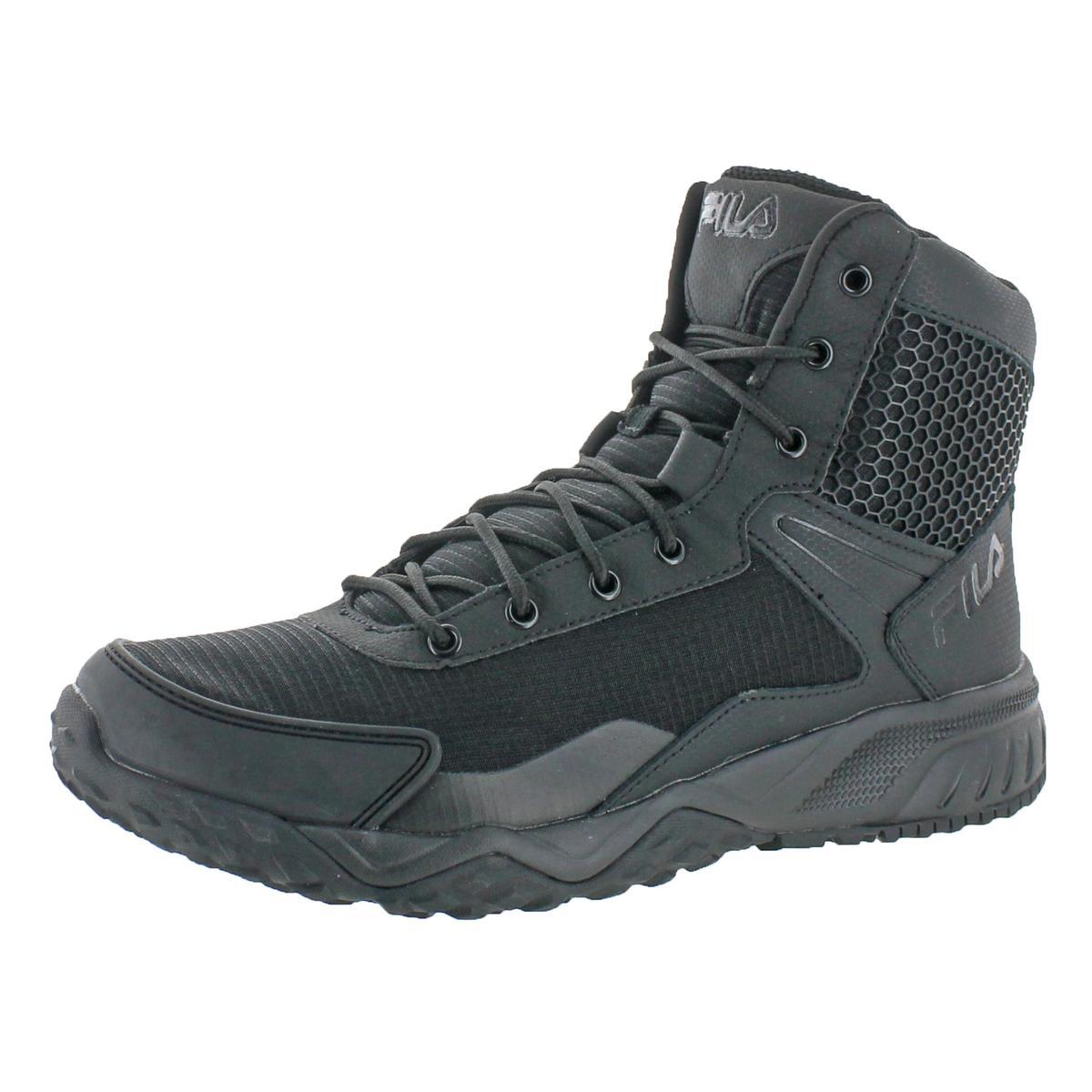 Fila Mens Stormer Black Leather Tactical Boots Shoes 11 Medium (D) BHFO 9669